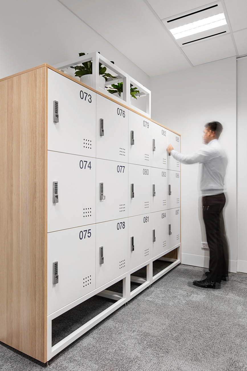 Timber lockers with planter boxes