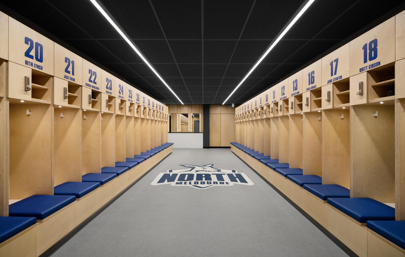 North melbourne football club custom team room lockers