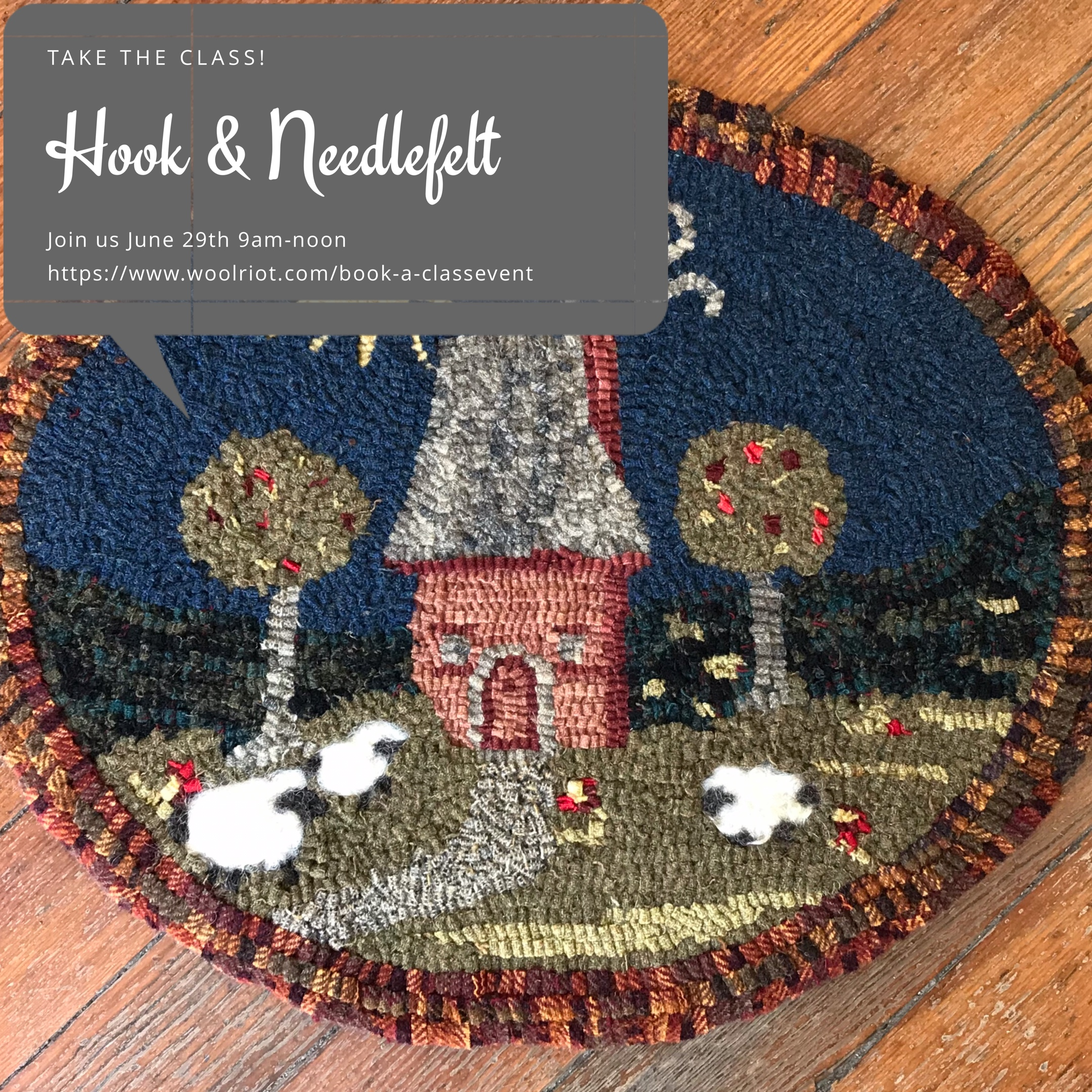 REGISTER FOR  CLASS ON JUNE 29th 9am-NOON.   https://www.woolriot.com/book-a-classevent