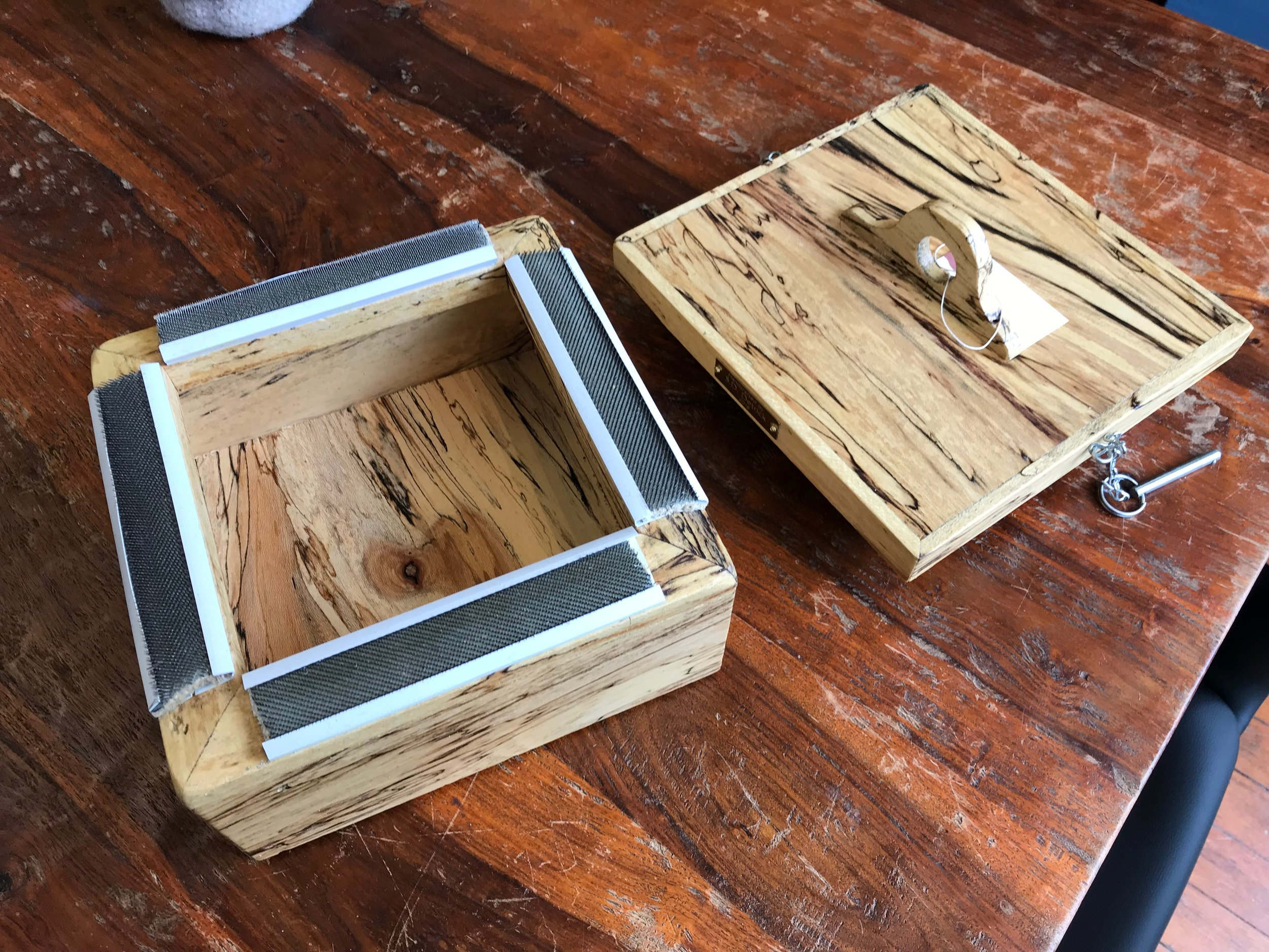 Punch Needle Frame Box Now Here! - You'll love this super handy little box that will store your needle punch supplies and provide your frame as well. So handy to tote to your next hook-in! Handcrafted in Ohio, we have walnut and spaulted maple. $150-get yours today!