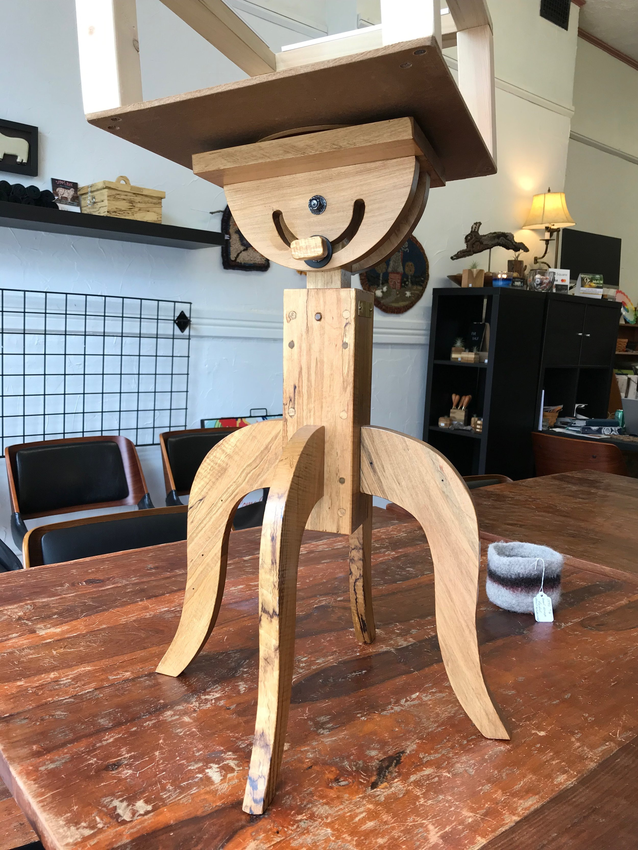 Handcrafted Rug Hooking Stands Now Here! - Height and tilt adjustment plus swivel action too! Available in walnut and spaulted hardwood maple. $190. We also have frames! Just a couple left, come in to try one out.