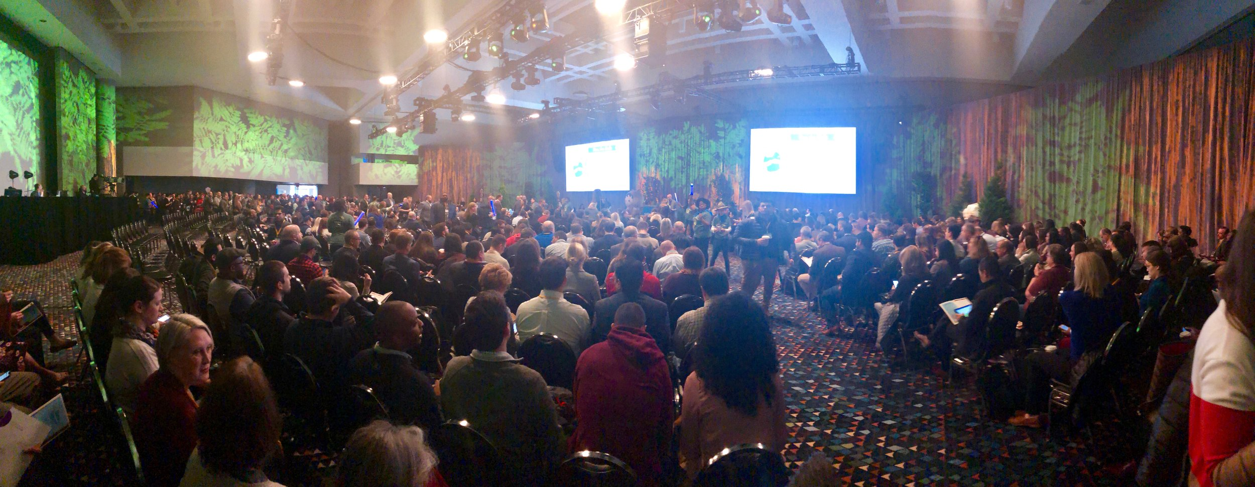 The keynote was packed out! Standing room only. -