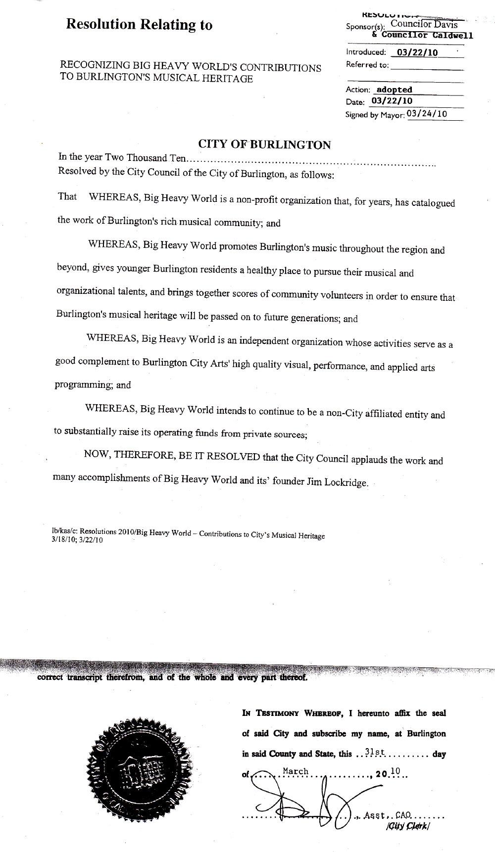 Burlington City Council Resolution
