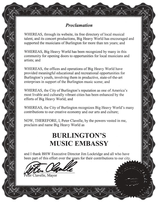 Burlington's Music Embassy