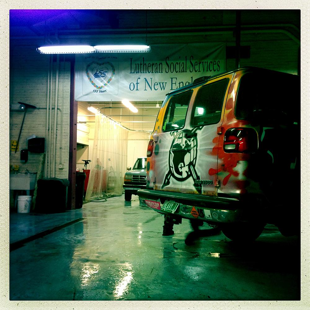 Van at Good News Garage.
