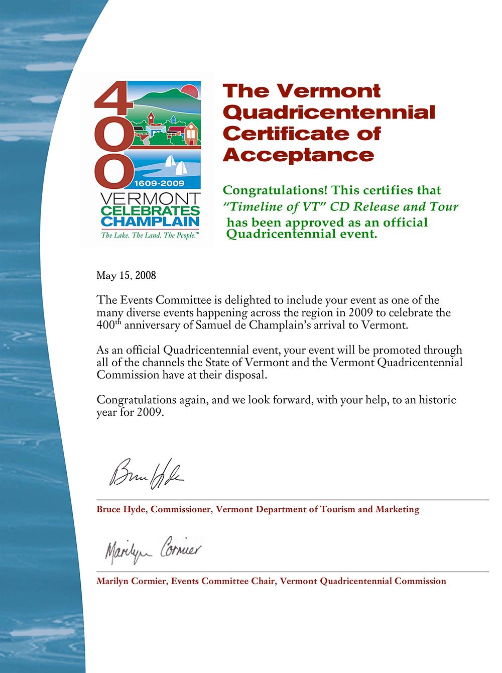 Quadricentennial Endorsement