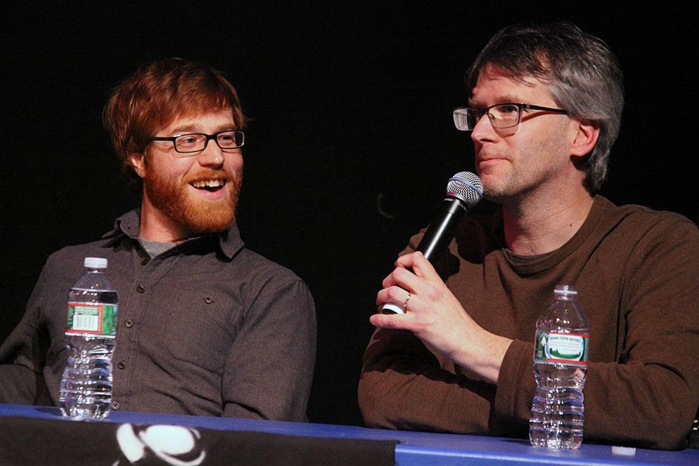 'Getting Press' panelists Dan Bolles, Seven Days and Brent Hallenbeck, Burlington Free Press. Photo by Lily Chau.