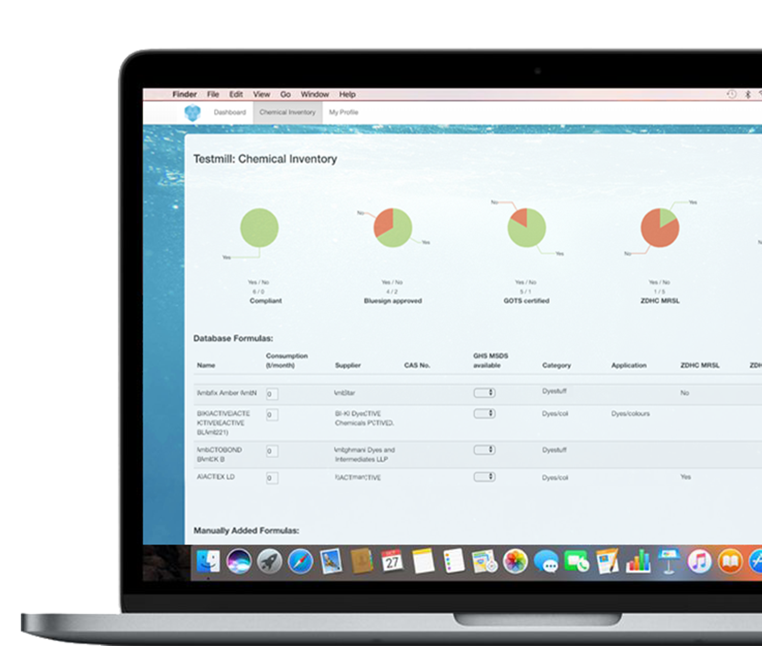 4. Manage - View and manage chemical inventory online platform.