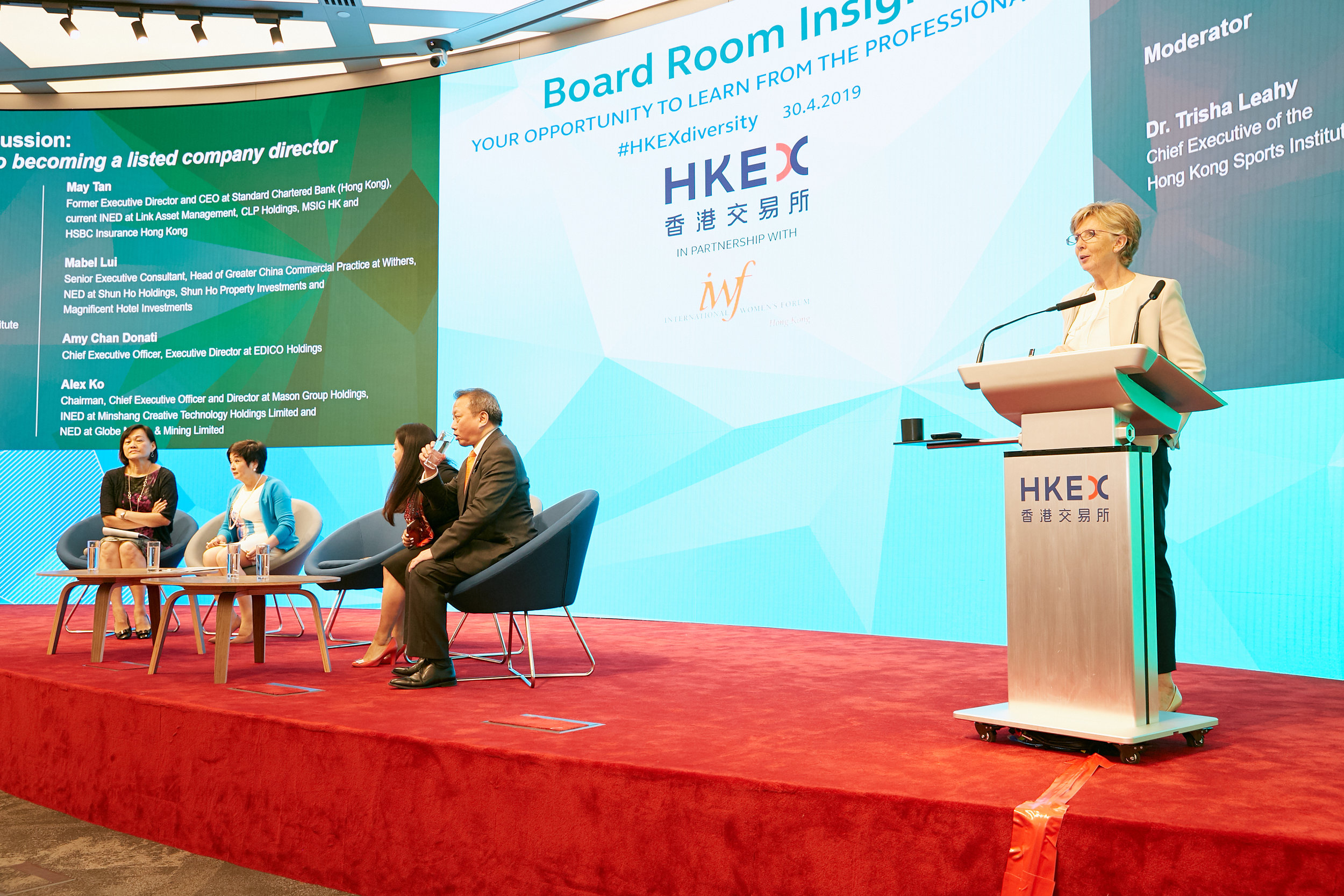 IWF-HK Past President Trisha Leahy moderates a panel on 'Path to becoming a listed company director' with Mabel Lui, IWF-HK member, among the panelists