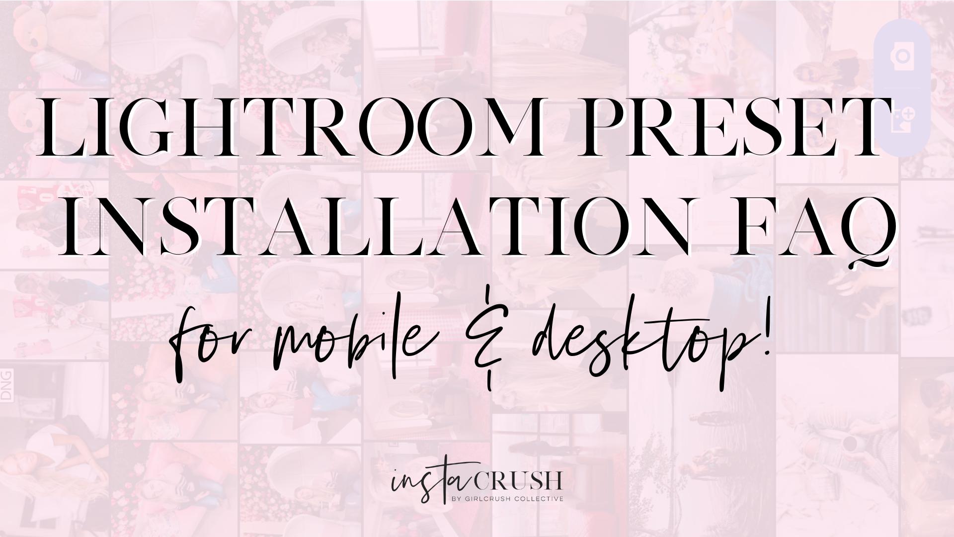 lightroom preset installation instructions