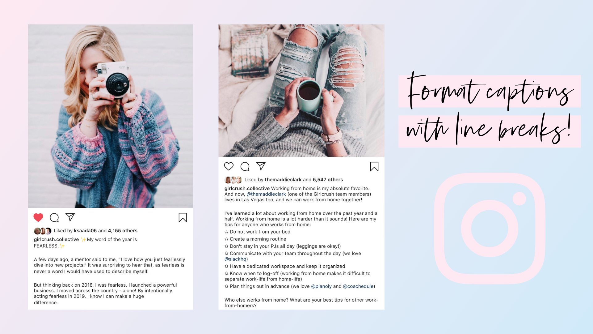 format instagram captions with line breaks