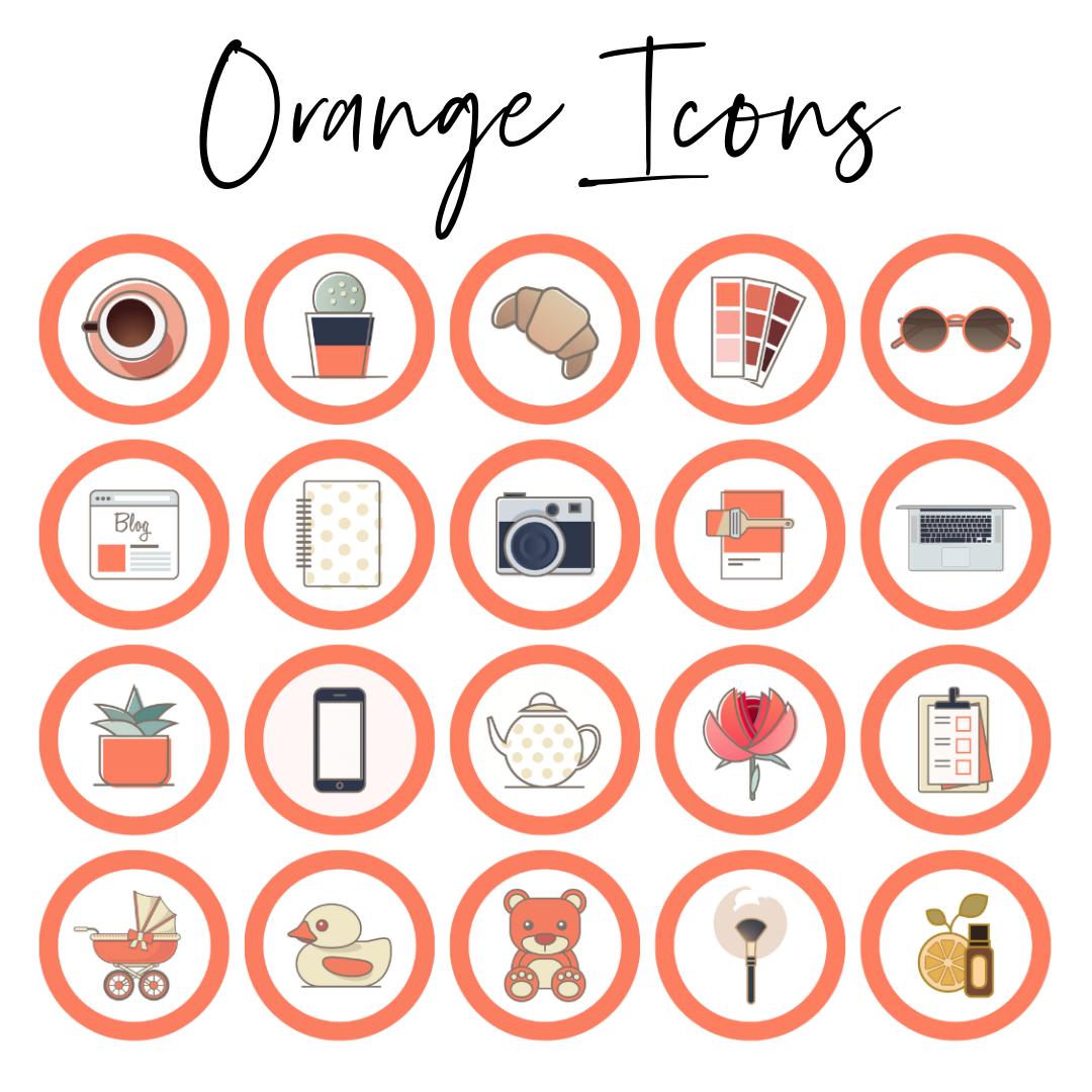 orange icons highlights