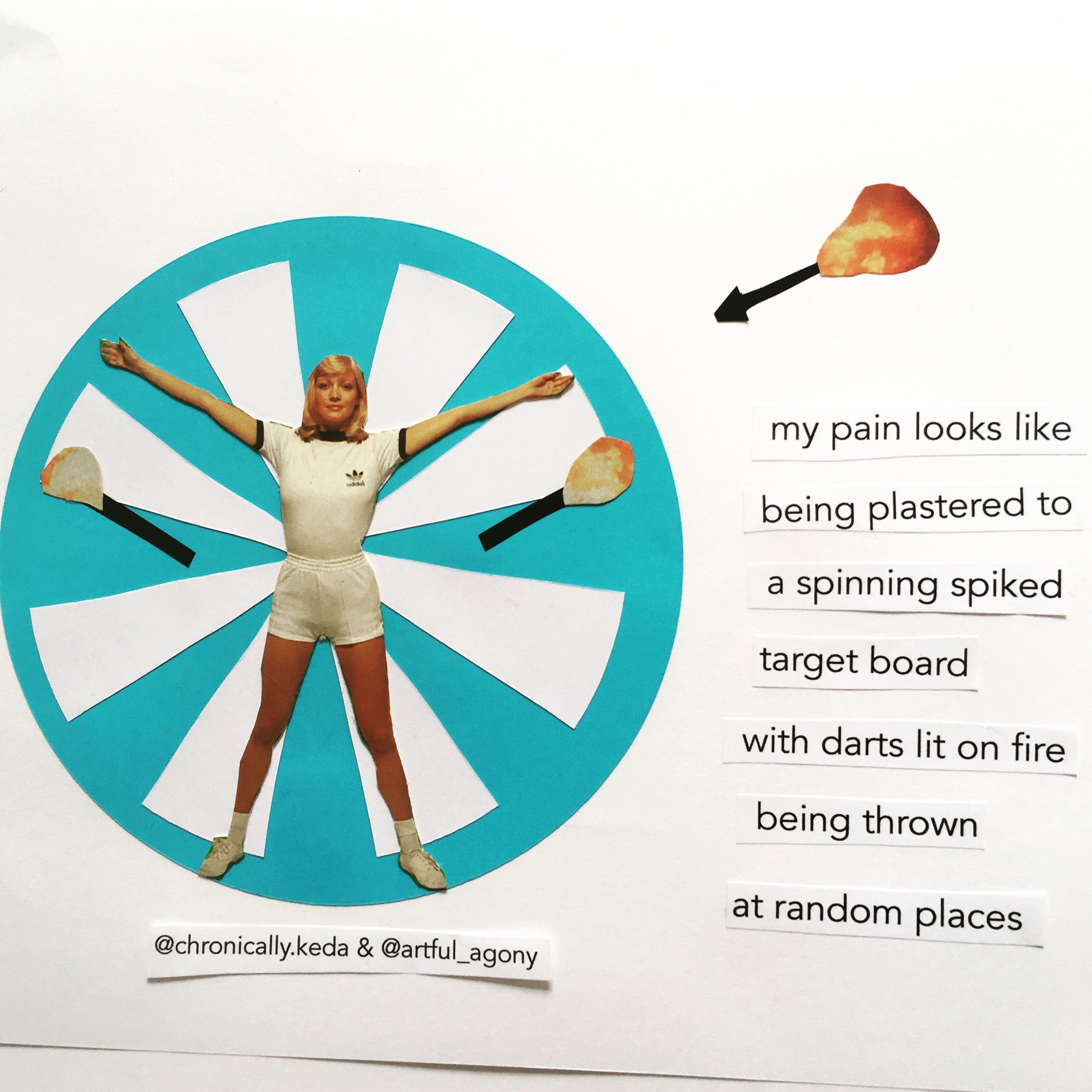 TARGET BOARD  'My pain looks like being plastered to a spinning spiked target board with darts lit on fire being thrown at random places.'  submitted by @chronically.keda