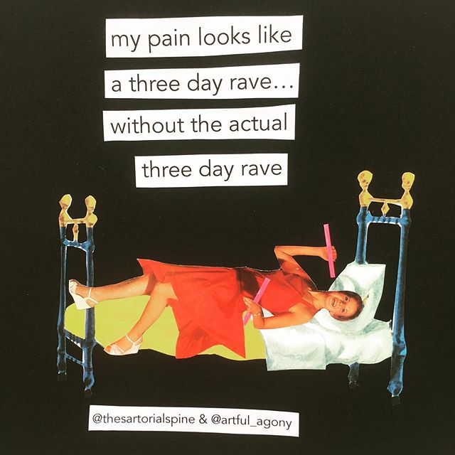 Today's visual pain description comes from @thesartorialspine who says 'My pain looks like a 3-day rave, without the actual 3-day rave.' I didn't have any books with people wearing rave attire, but I tried to give her some glow sticks. And she looks like she took something.Want your pain experience illustrated? See below... * This is an ongoing project...I'm asking people to answer the question: If you could show people your pain, what would it look like? * If you'd like to participate, just complete the sentence 'My pain looks like...' below or in a DM and I will choose the best ones illustrate. * Please try to keep your descriptions to one sentence(2 max) * You can see all of the first round at artfulagony.com/snapshots * #pain #snapshotsofpain #mypainlookslike #fibromyalgia #chronicpain #chronicillness #invisibleillness #mecfs #endometriosis #crps #collaboration #analogcollage #collageaday #collageartist #collageart #instaart #artshare #customcollage #share #art #illustration #fibrowarrior #chronicloveclub #collageshare #dailypractice #collageclub #cutandpaste #firecracker #migraine