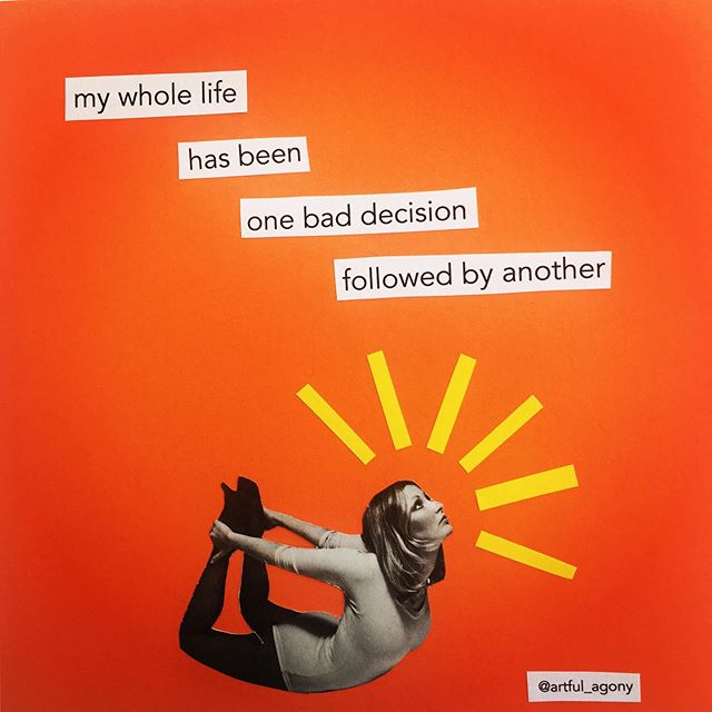 This is really not my favourite rabbit hole to go down... * * * * * * #mistakes #disappointment #yogaposes #chronicillness #collageart #artistsofinstagram #womenshealth