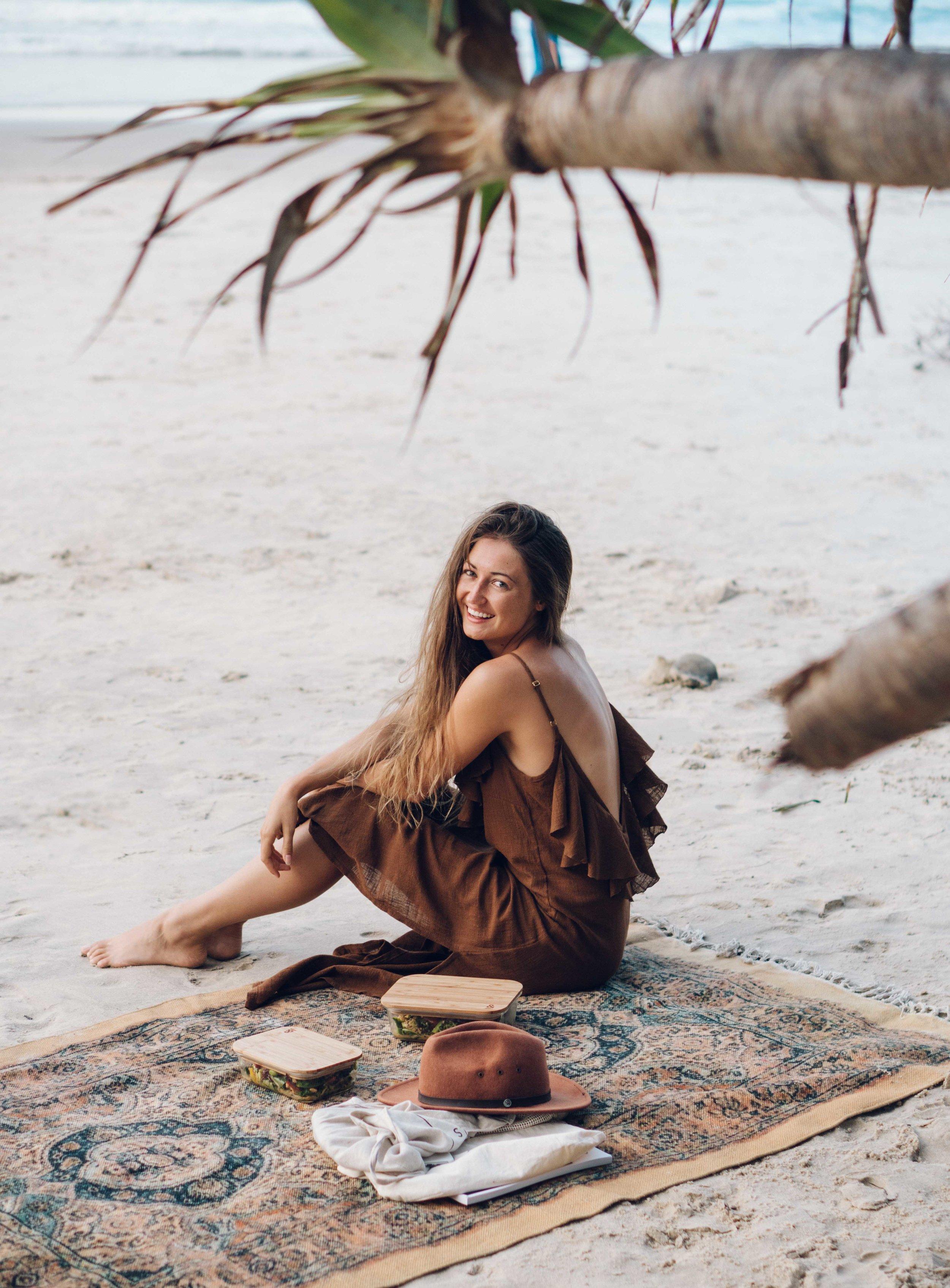 Wearing  Hazel and Folk ,  Earth Covers  Picnic Rug at Wategos Beach.