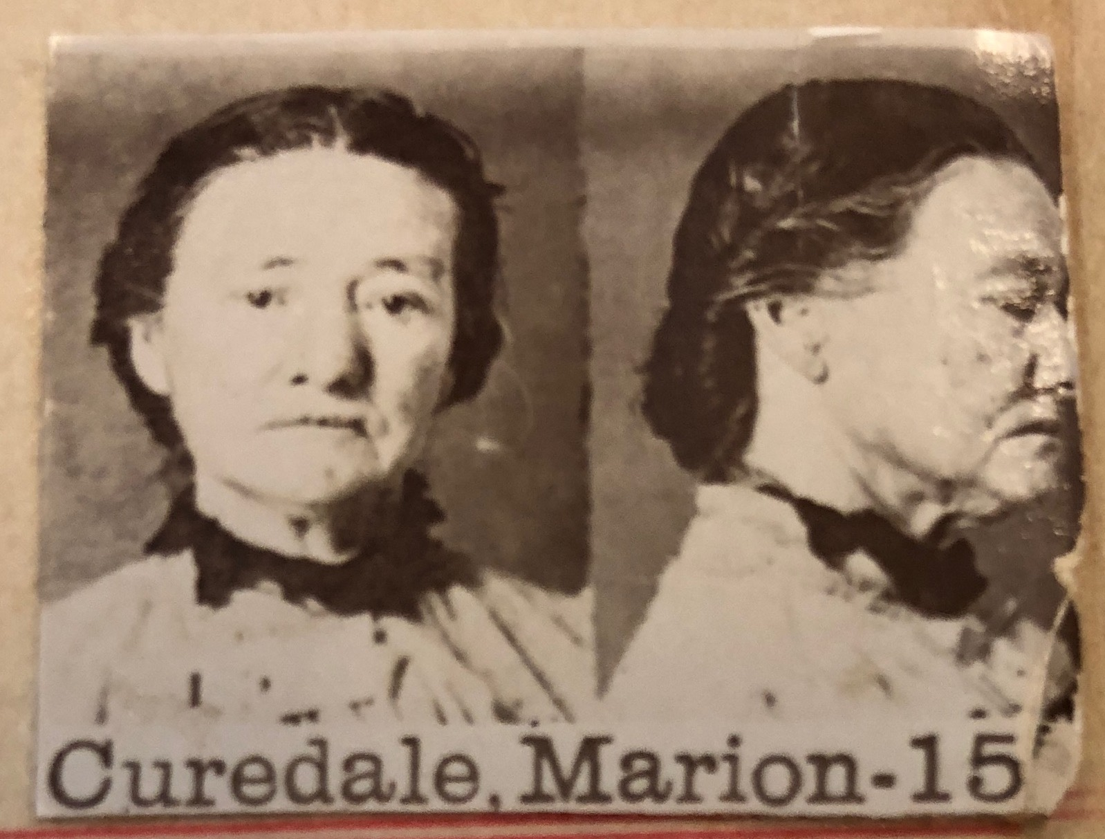 Marion Curedale's mugshot, Courtesy of the State Records Office WA