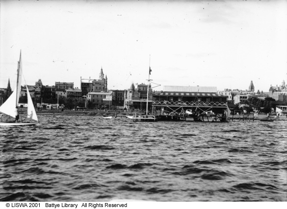1910s shot from the river to boat sheds on the Esplanade