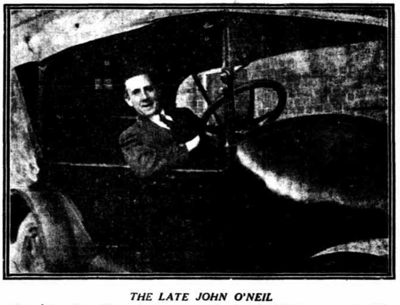 The murdered man at the wheel of his Buick motor car in which he later lost his life, The Sunday Times, 15 June 1924.