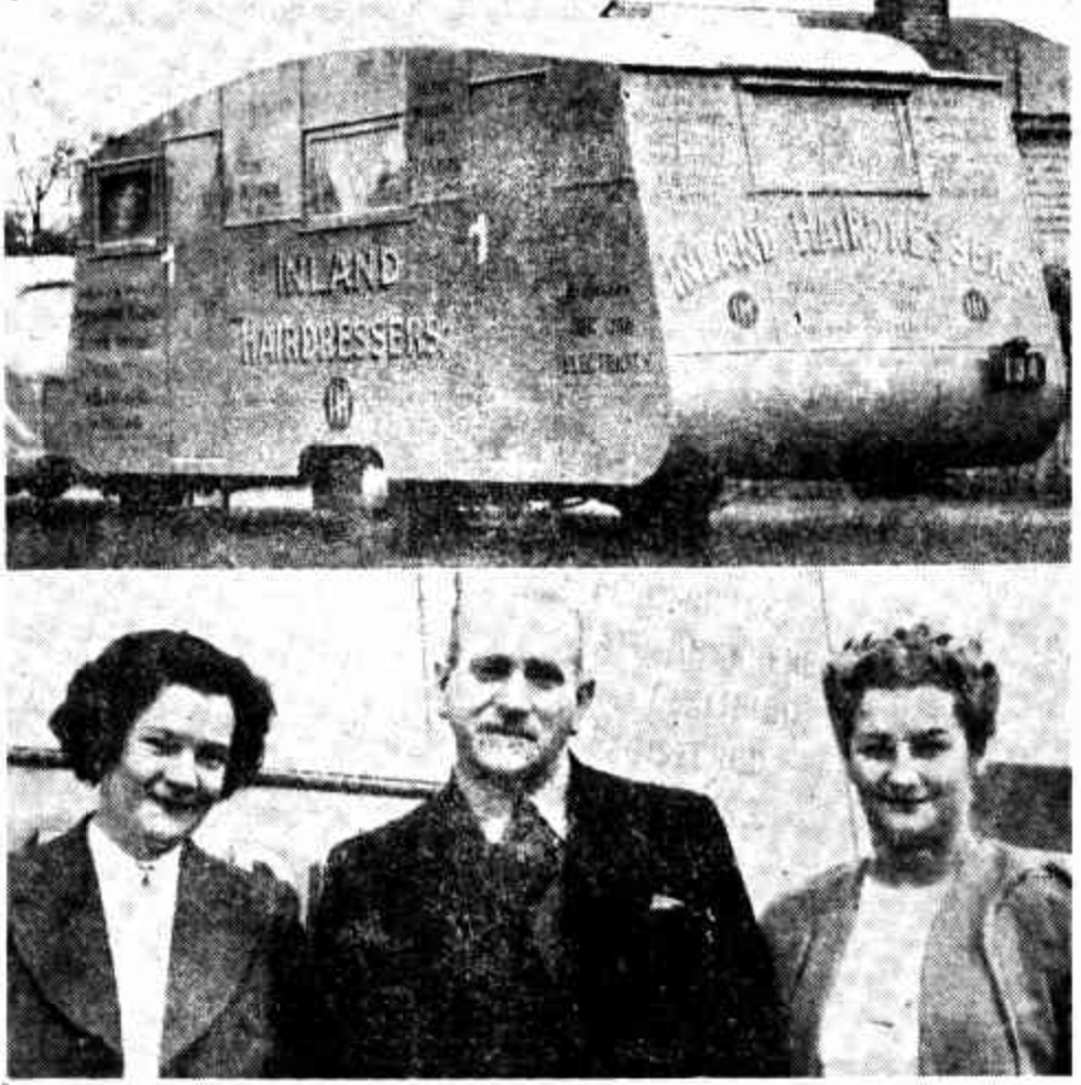 Mr and Mrs George Auburn with Mrs Auburn's daughter, ready to depart for the South-West in their mobile hairdressing salon. The Sunday Times, 22 August 1948.