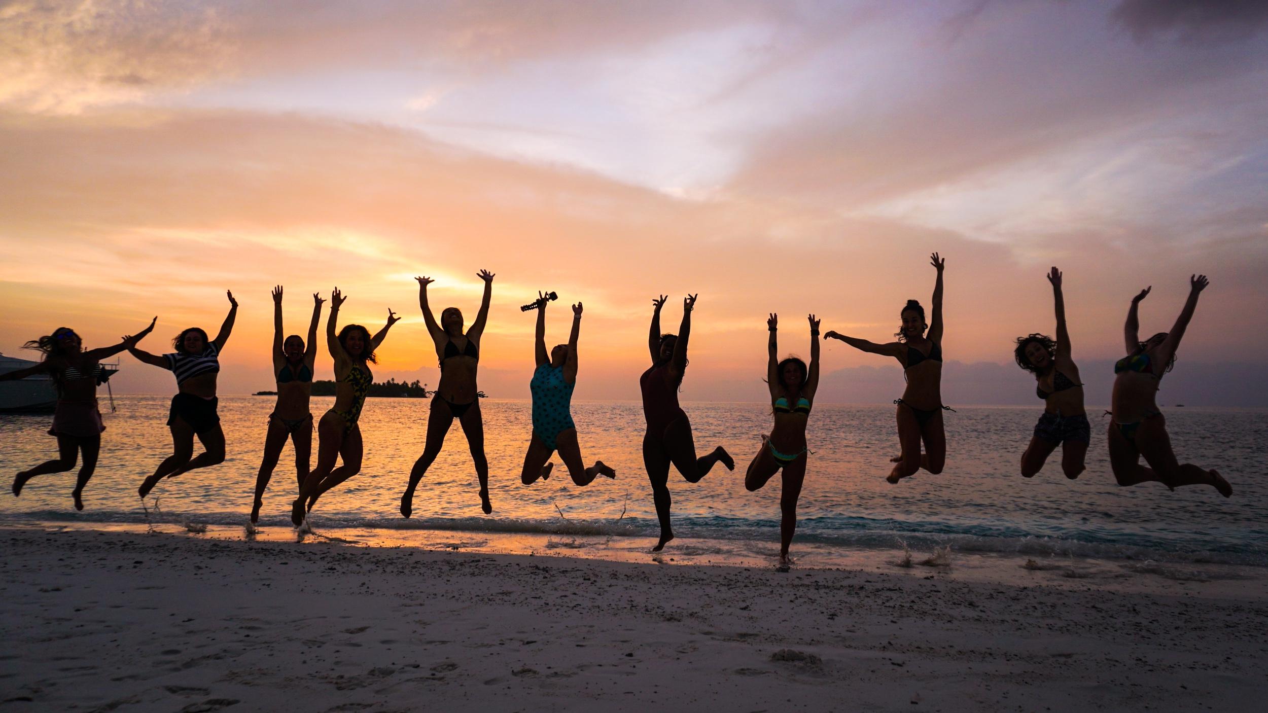 """Grupo 1, no passeio ao """"Sand Bar"""", um banco de areia incrível perdido no meio do oceano."""