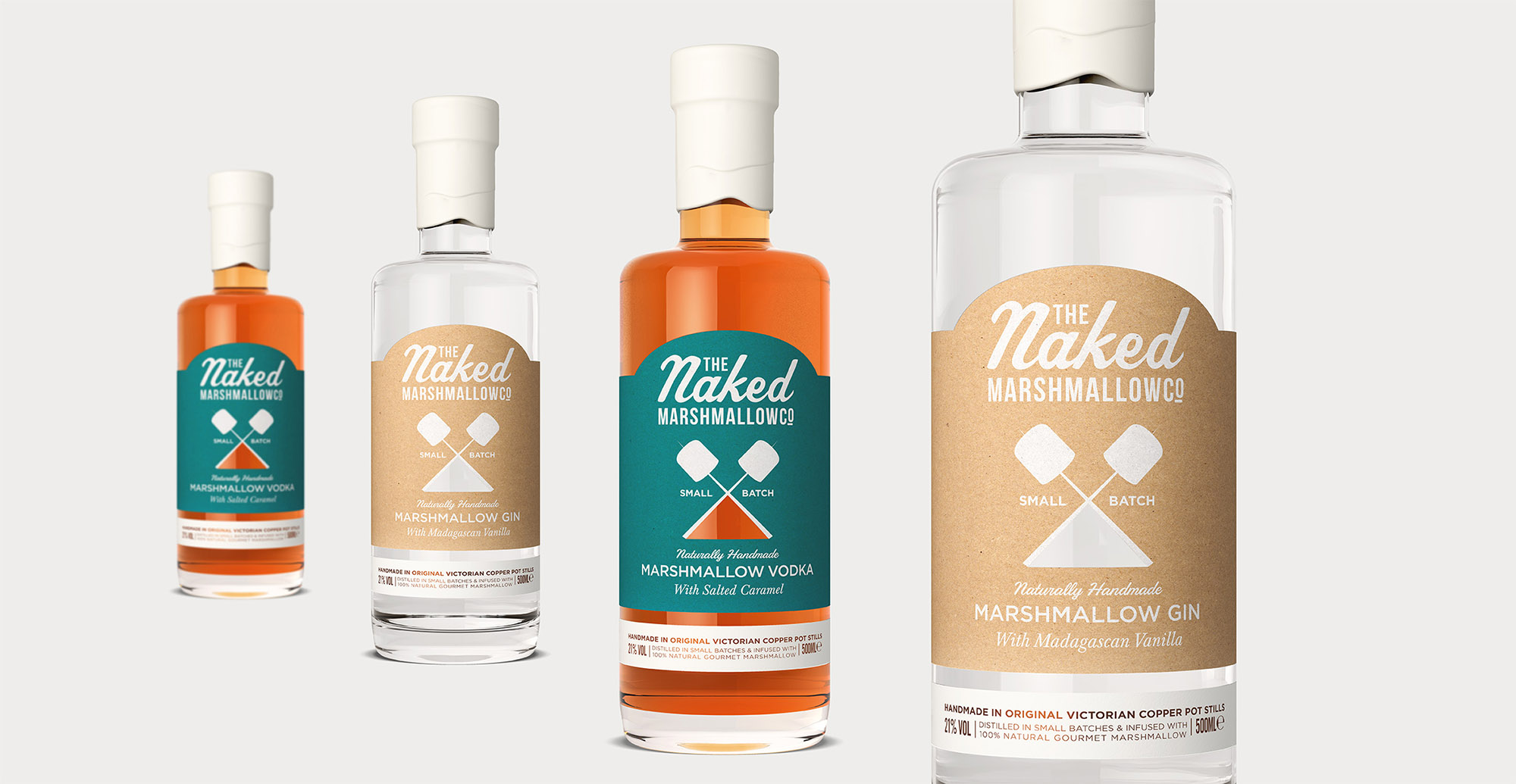 Branding and packaging design for confectionary brand The Naked Marshmallow Co by Design Happy London - Gin label and structure design 3D render