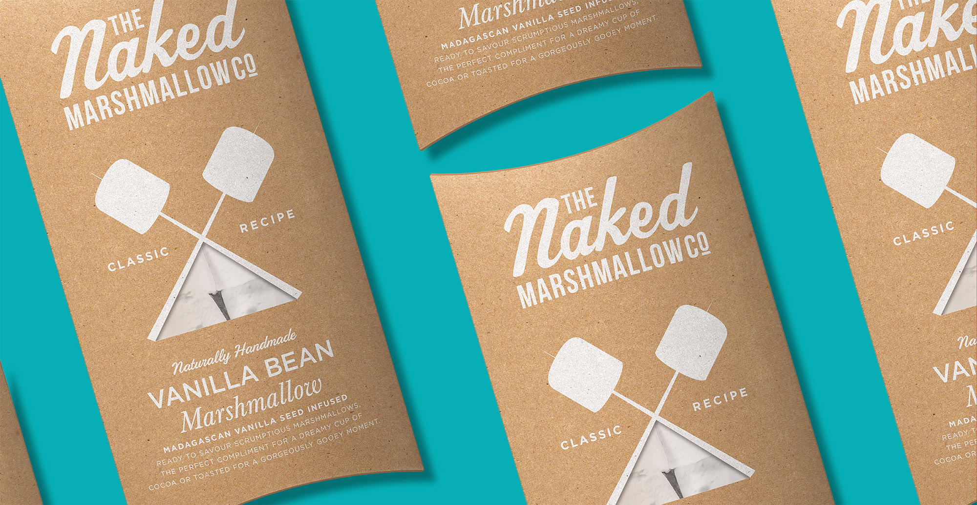 Branding and packaging design for confectionary brand The Naked Marshmallow Co by Design Happy London - Vanilla Bean Gin packaging design