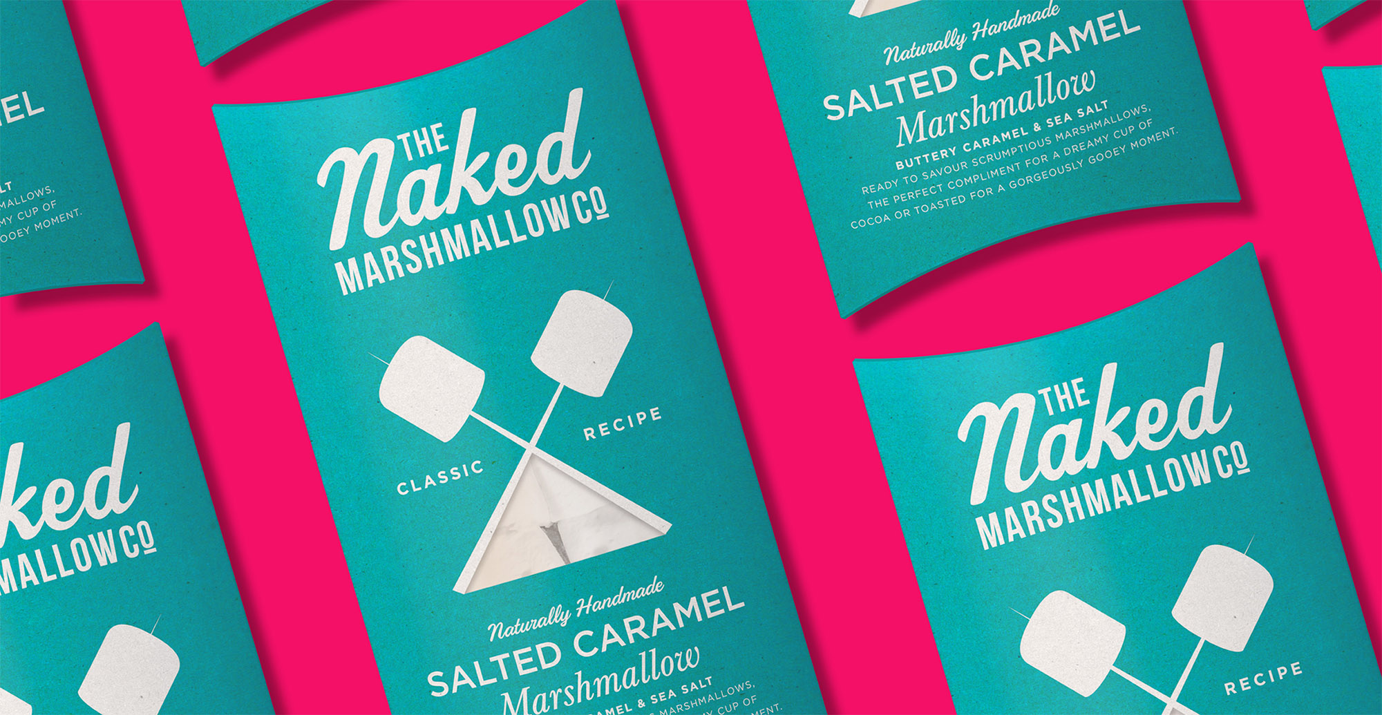 Branding and packaging design for confectionary brand The Naked Marshmallow Co by Design Happy London - Salted Caramel Vodka packaging design