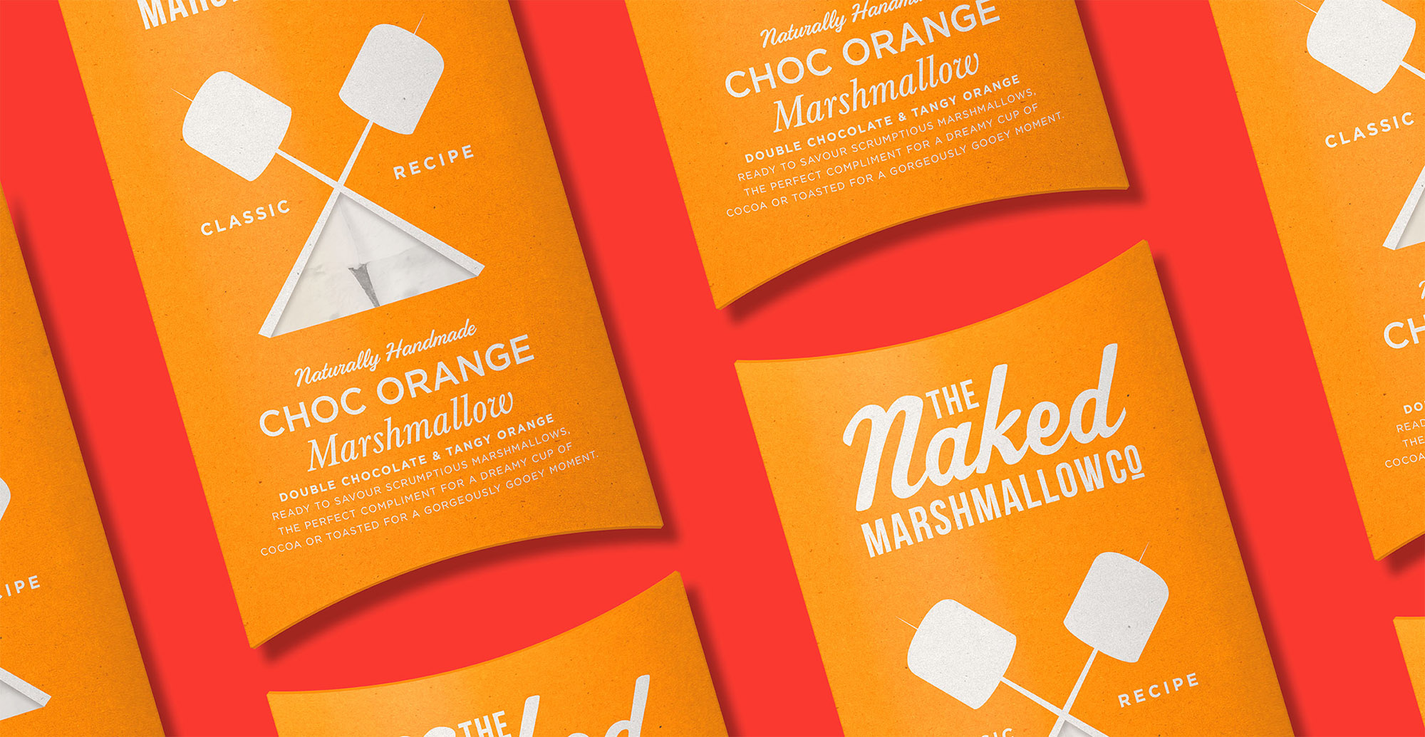 Branding and packaging design for confectionary brand The Naked Marshmallow Co by Design Happy London - Chocolate Orange packaging design