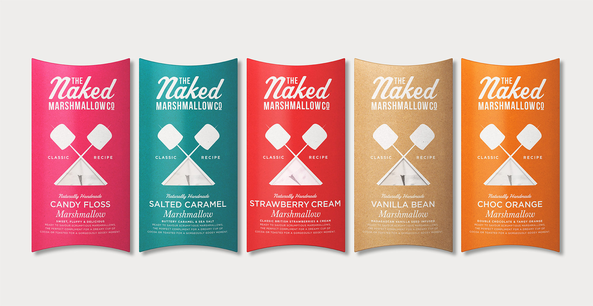 Branding and packaging design for confectionary brand The Naked Marshmallow Co by Design Happy London - packaging Range