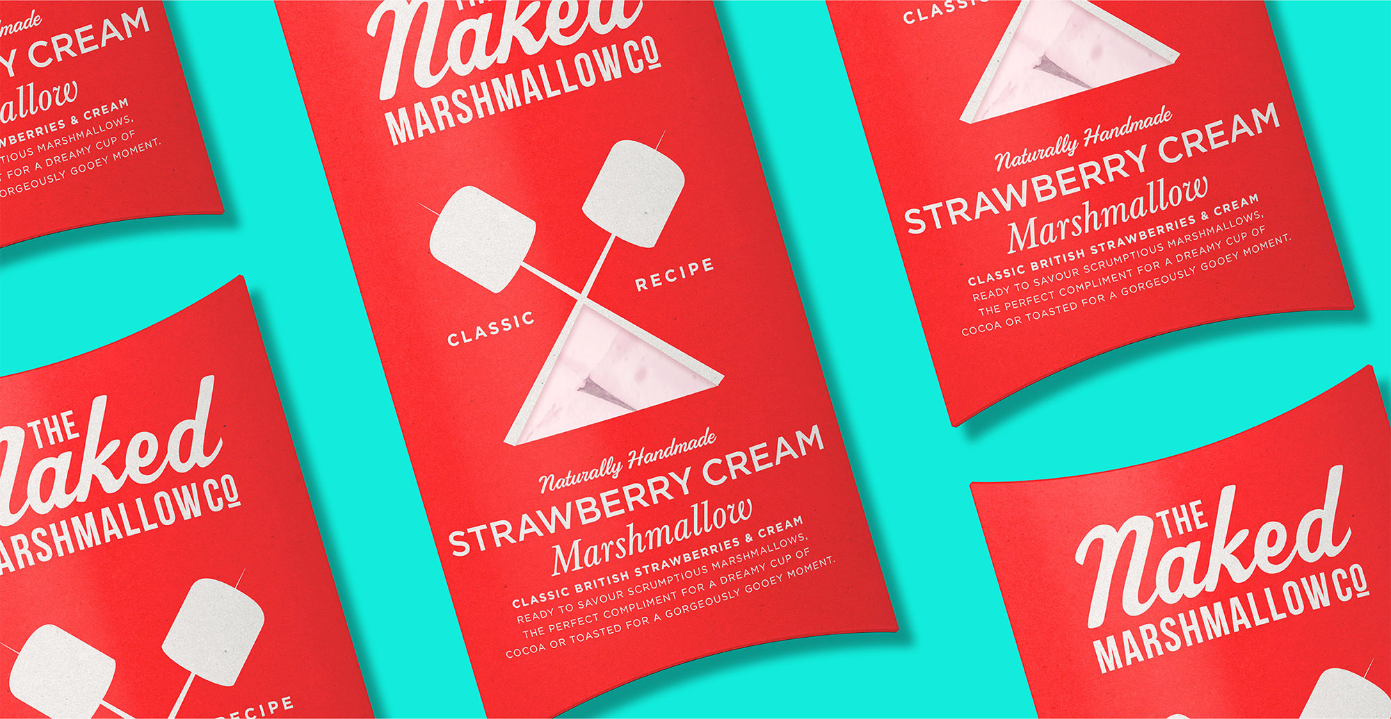 Branding and packaging design for confectionary brand The Naked Marshmallow Co by Design Happy London - Strawberry Cream packaging design