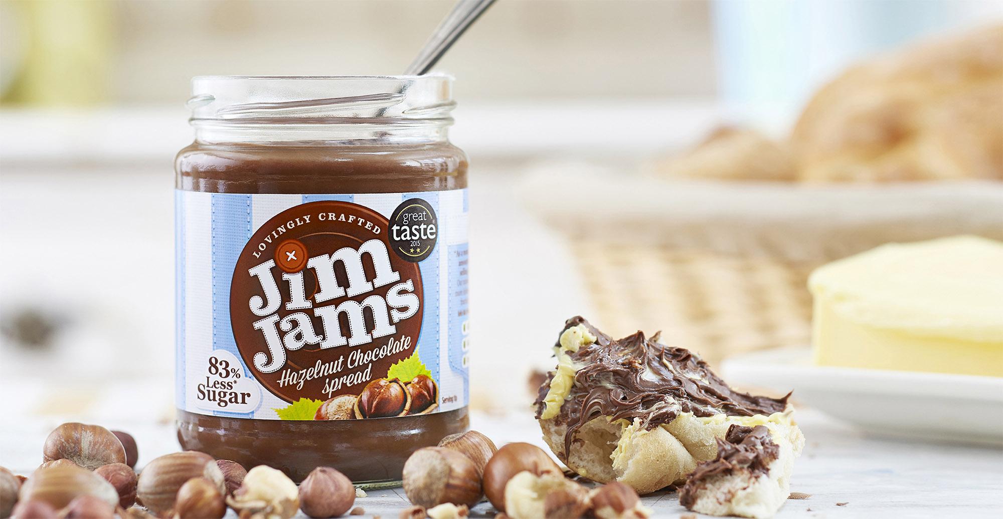 Food packaging design and brand identity for reduced sugar brand JimJams by Design Happy London - Photography of jimjams packaging design