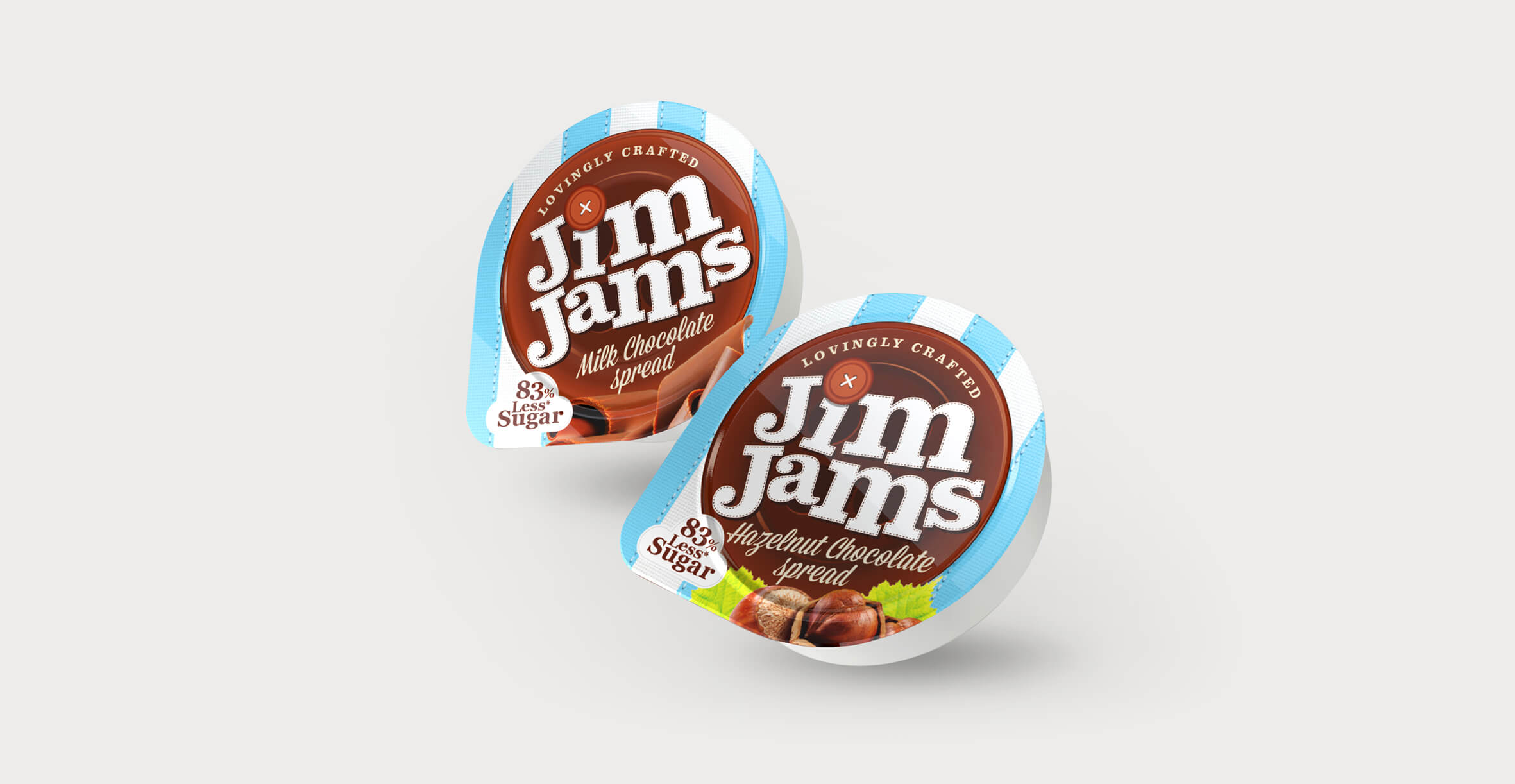 Food packaging design and brand identity for reduced sugar brand JimJams by Design Happy London - Sampler pots design and 3D render