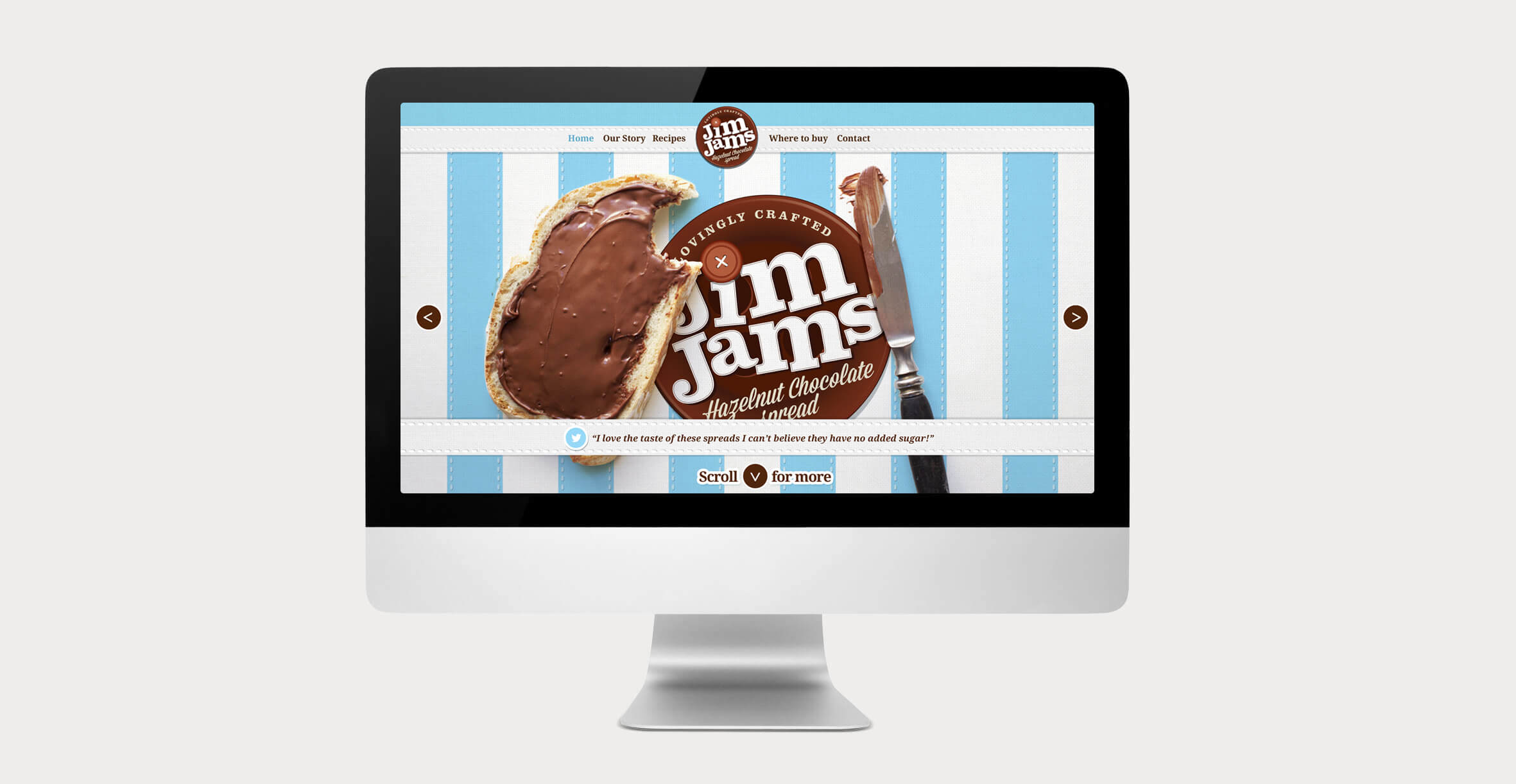 Food packaging design and brand identity for reduced sugar brand JimJams by Design Happy London - Website design