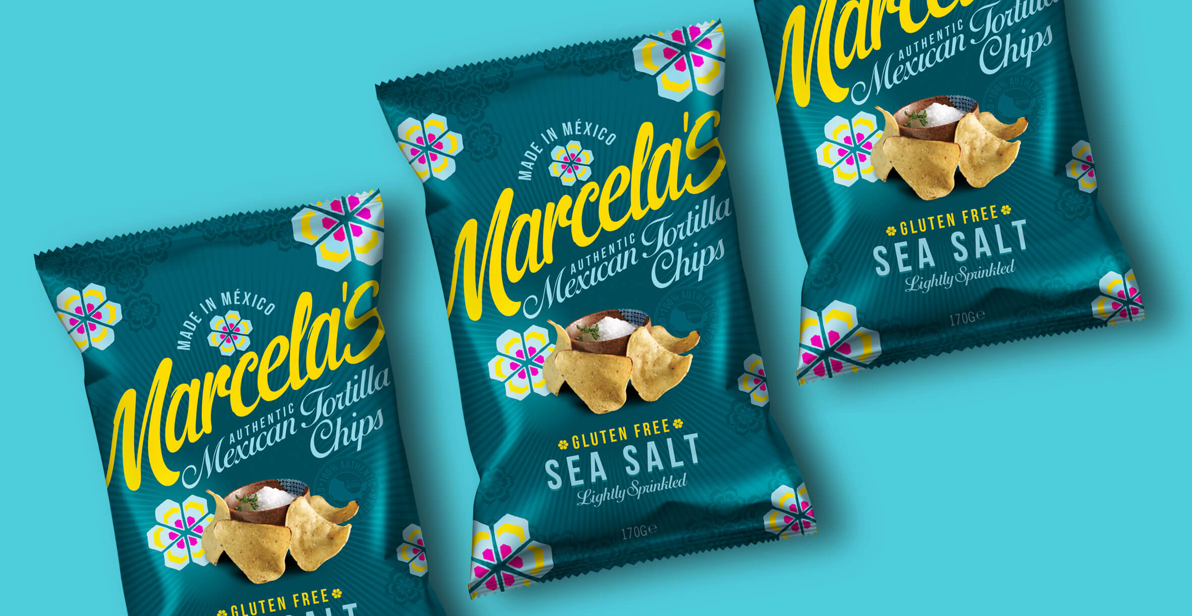Food packaging design and brand identity for mexican food brand Marcela by Design Happy London - Tortillas chip bag packaging