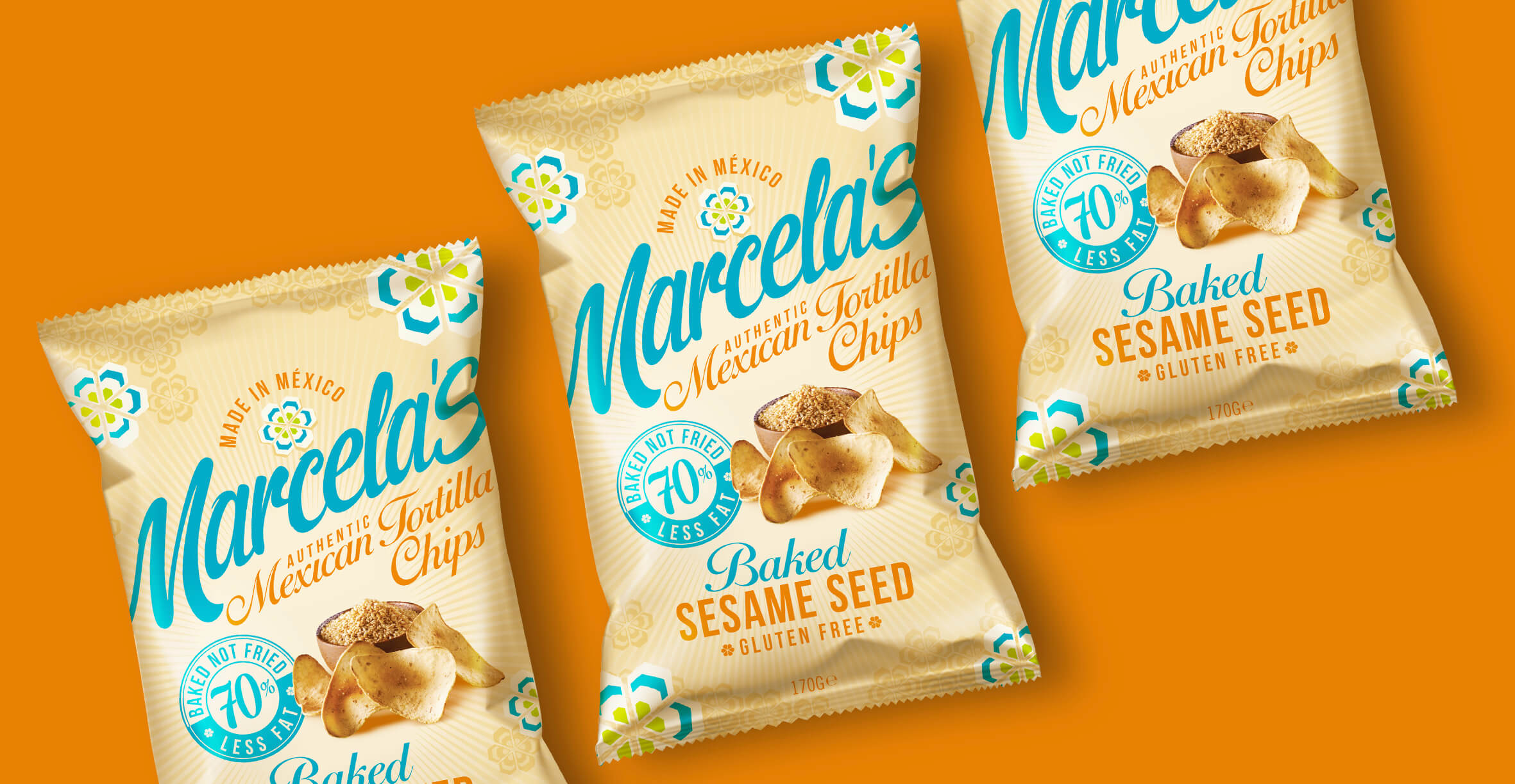 Food packaging design and brand identity for mexican food brand Marcela by Design Happy London - Tortilla Sesame seed design for packaging