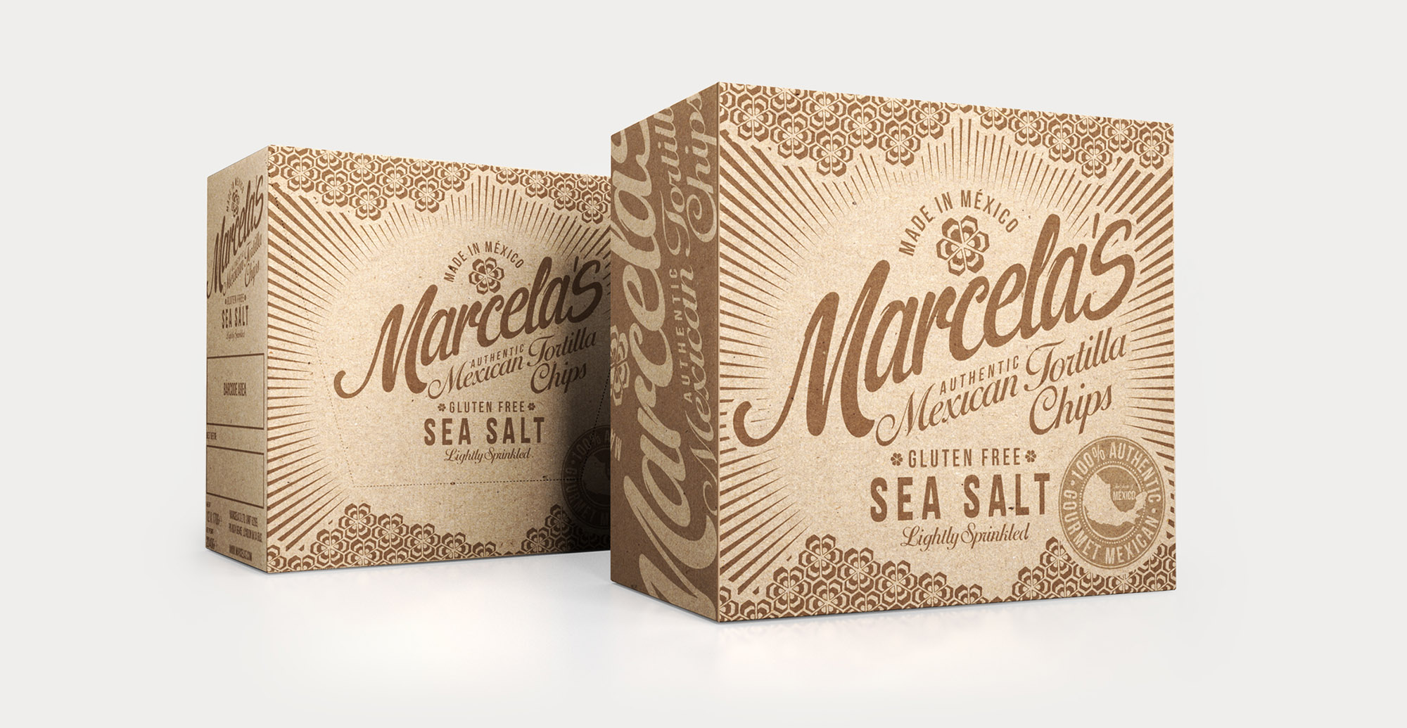 Food packaging design and brand identity for mexican food brand Marcela by Design Happy London - Outer shipping box design