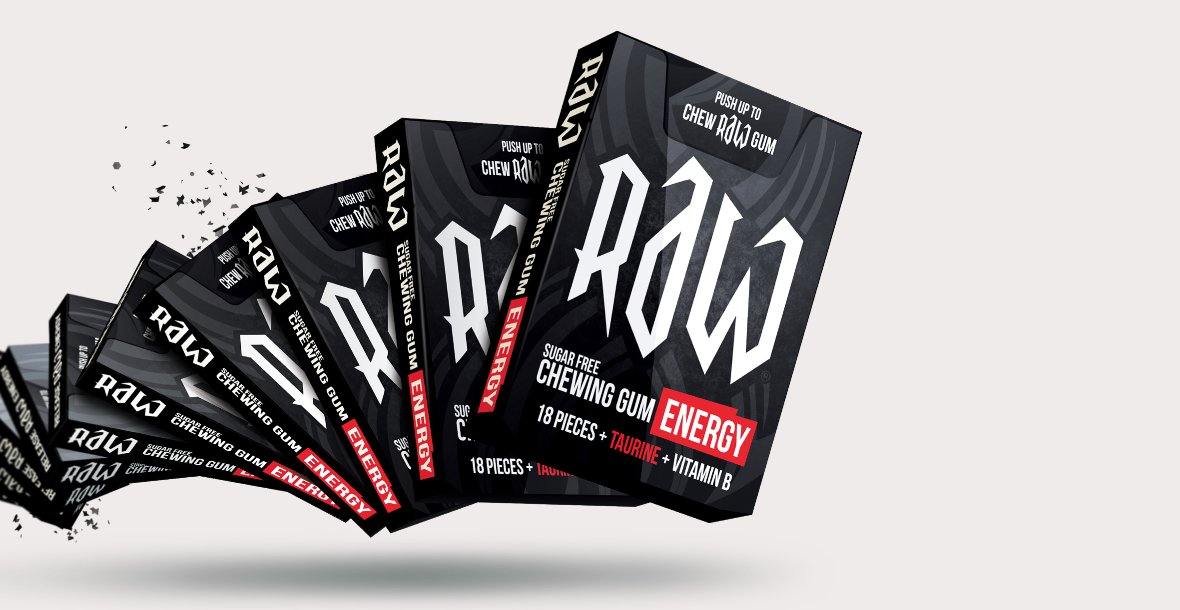 Confectionary packaging design and branding for chewing gum brand Raw by Design Happy London - Youth market chewing gum box packaging