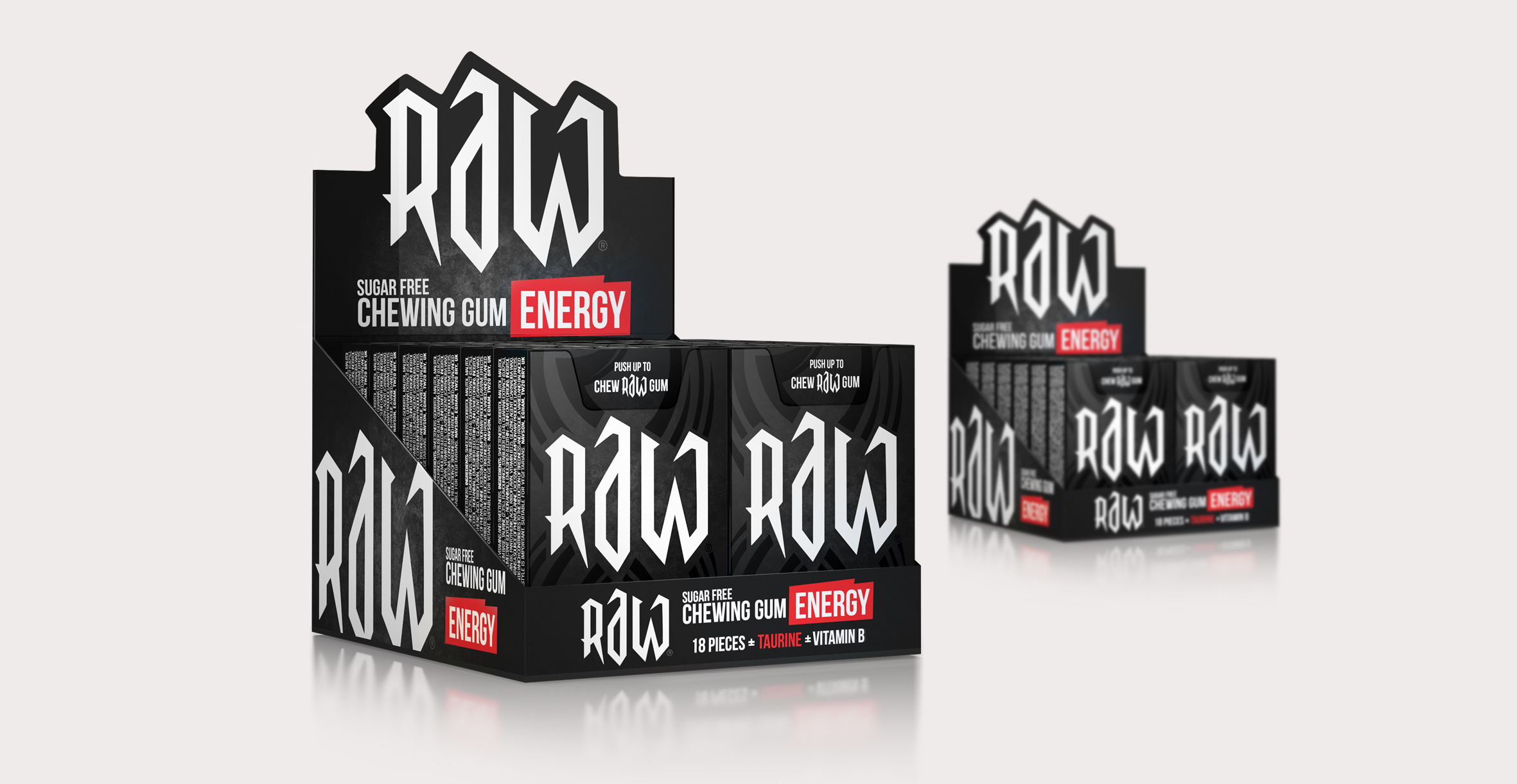 Confectionary packaging design and branding for chewing gum brand Raw by Design Happy London - Shelf ready packaging