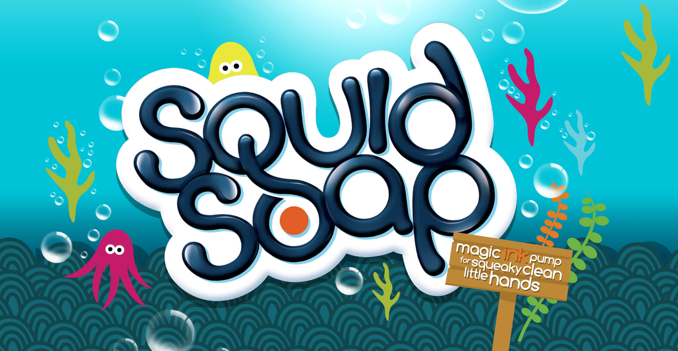 Toiletries packaging design and branding for children's bath product Squid Soap by Design Happy London - new brand logo identity for kids
