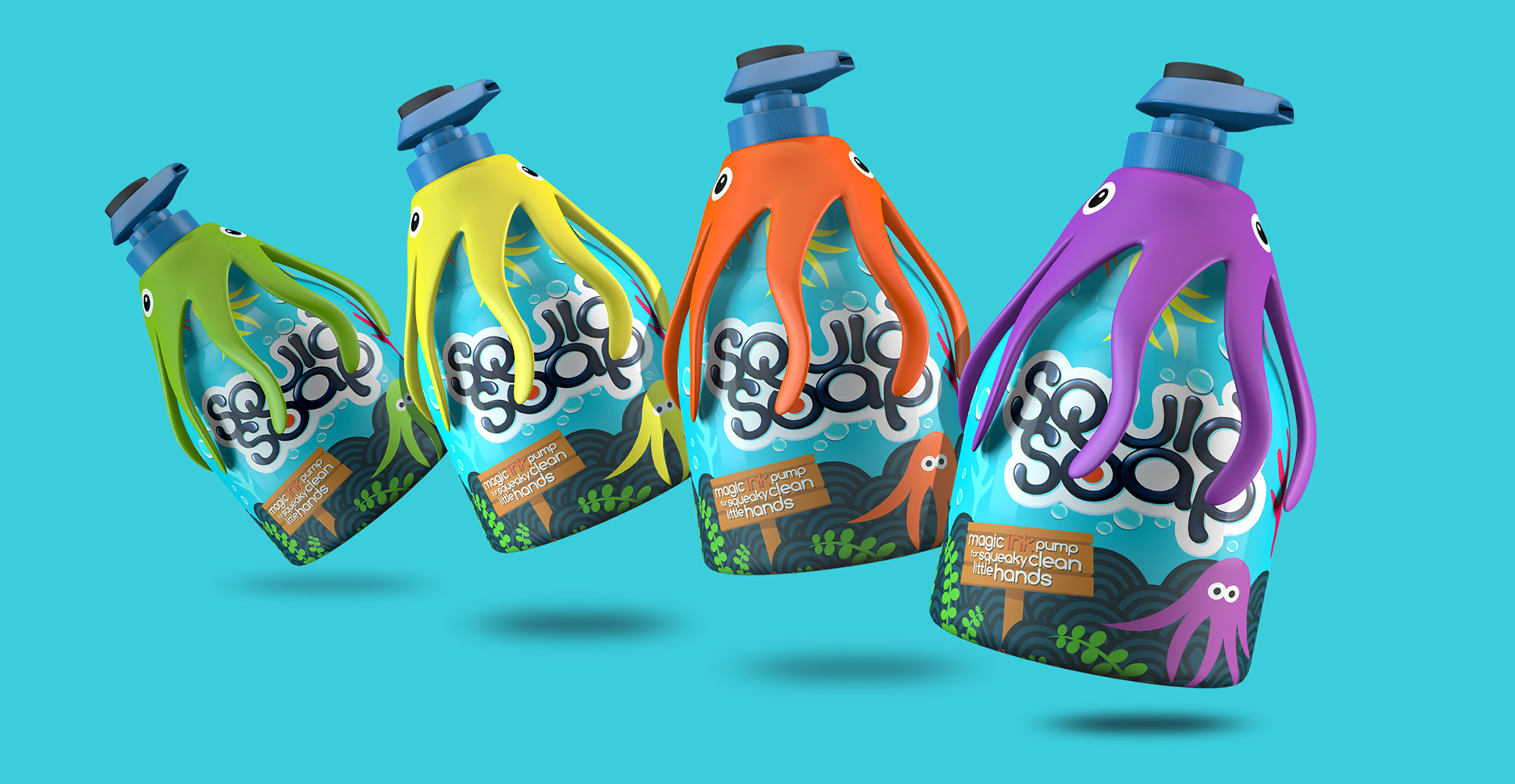 Toiletries packaging design and branding for children's bath product Squid Soap - range extension