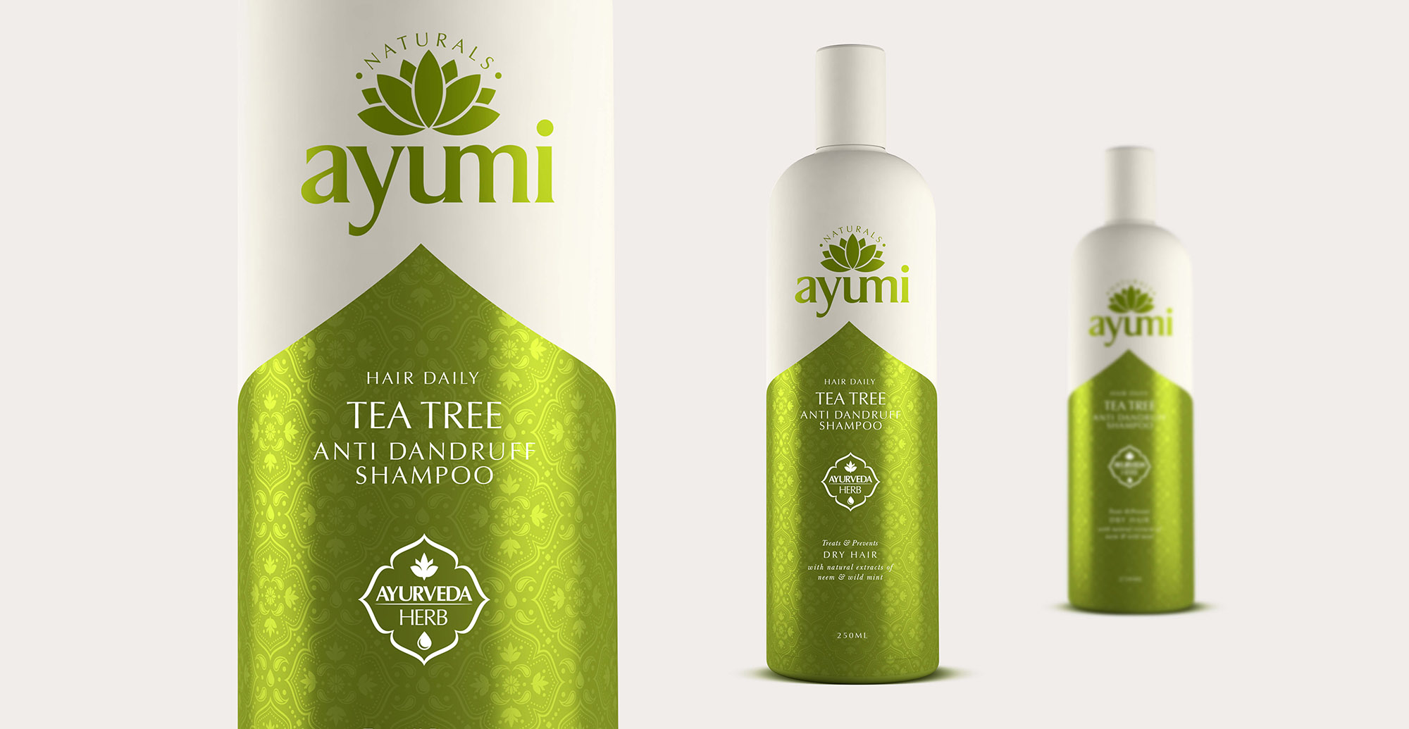 Health and Beauty Branding and Packaging Design for Beauty Brand Ayumi - 3D Render Tea Tree Shampoo