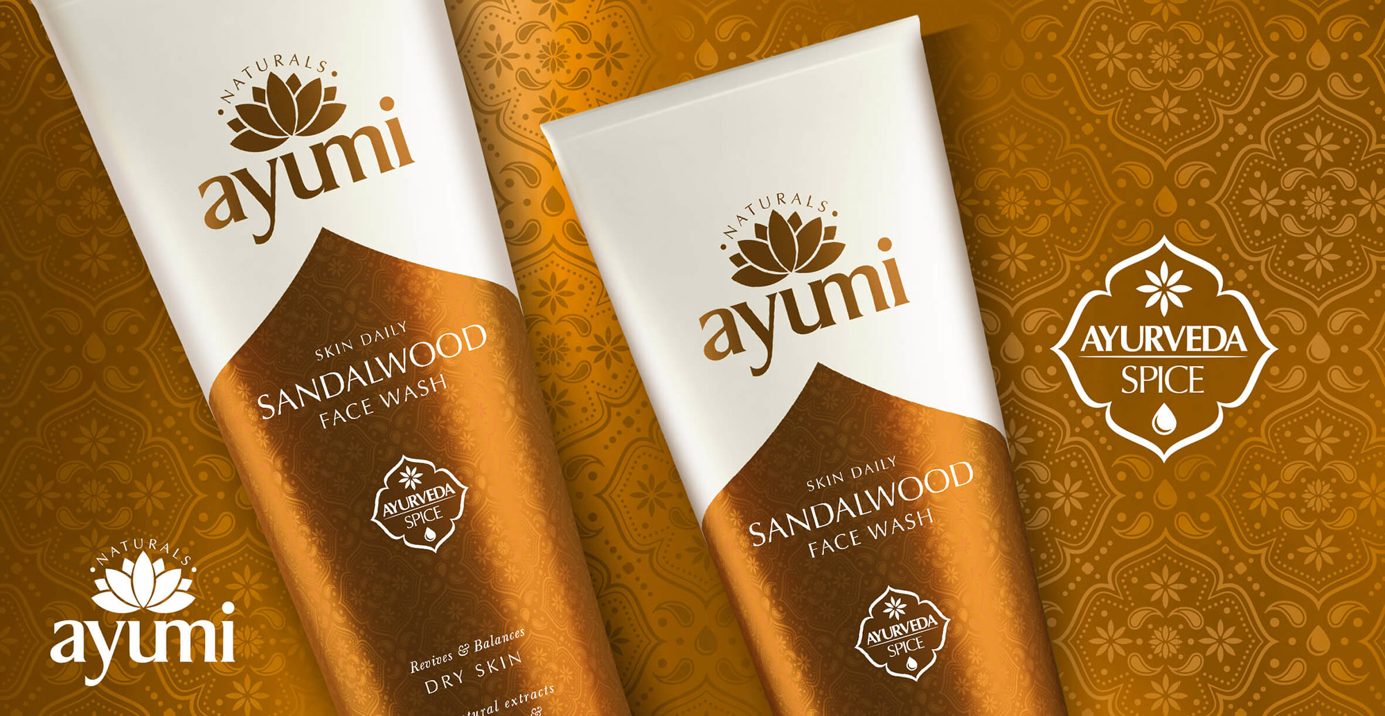 Health and Beauty Branding and Packaging Design for Beauty Brand Ayumi - Pack Shot Sandalwood Facewash