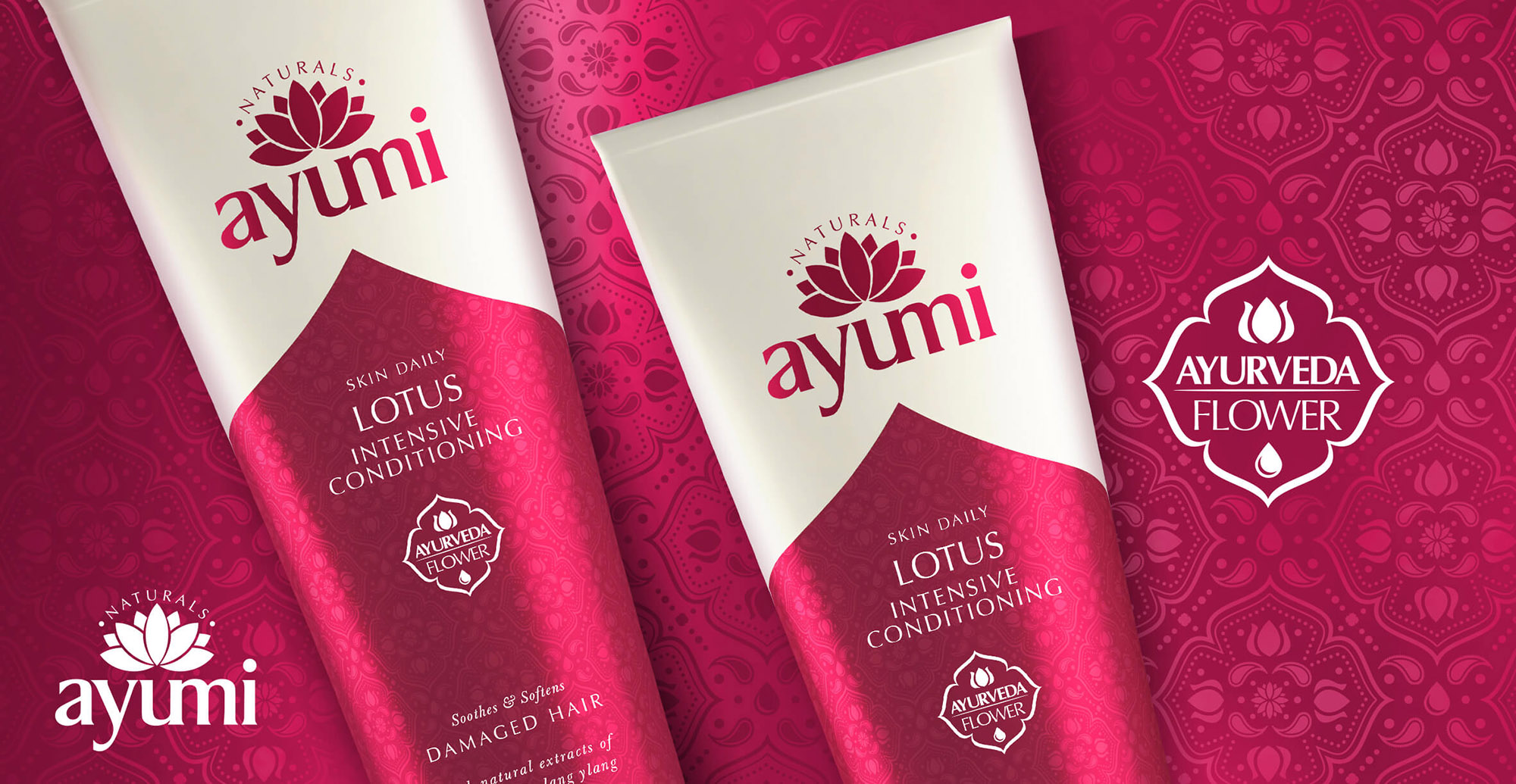 Health and Beauty Branding and Packaging Design for Beauty Brand Ayumi - Pack Shot Lotus Intensive Conditioning
