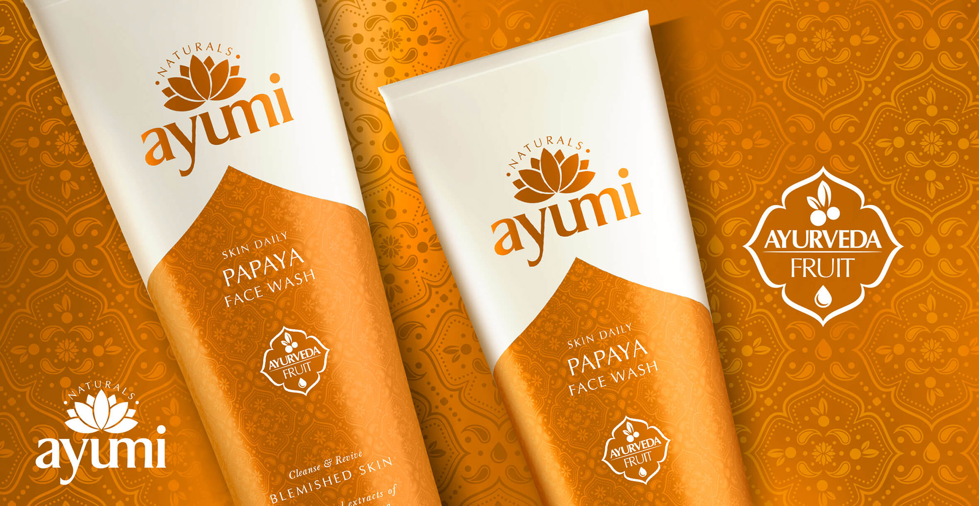 Health and Beauty Branding and Packaging Design for Beauty Brand Ayumi - Pack Shot Papaya Face Wash