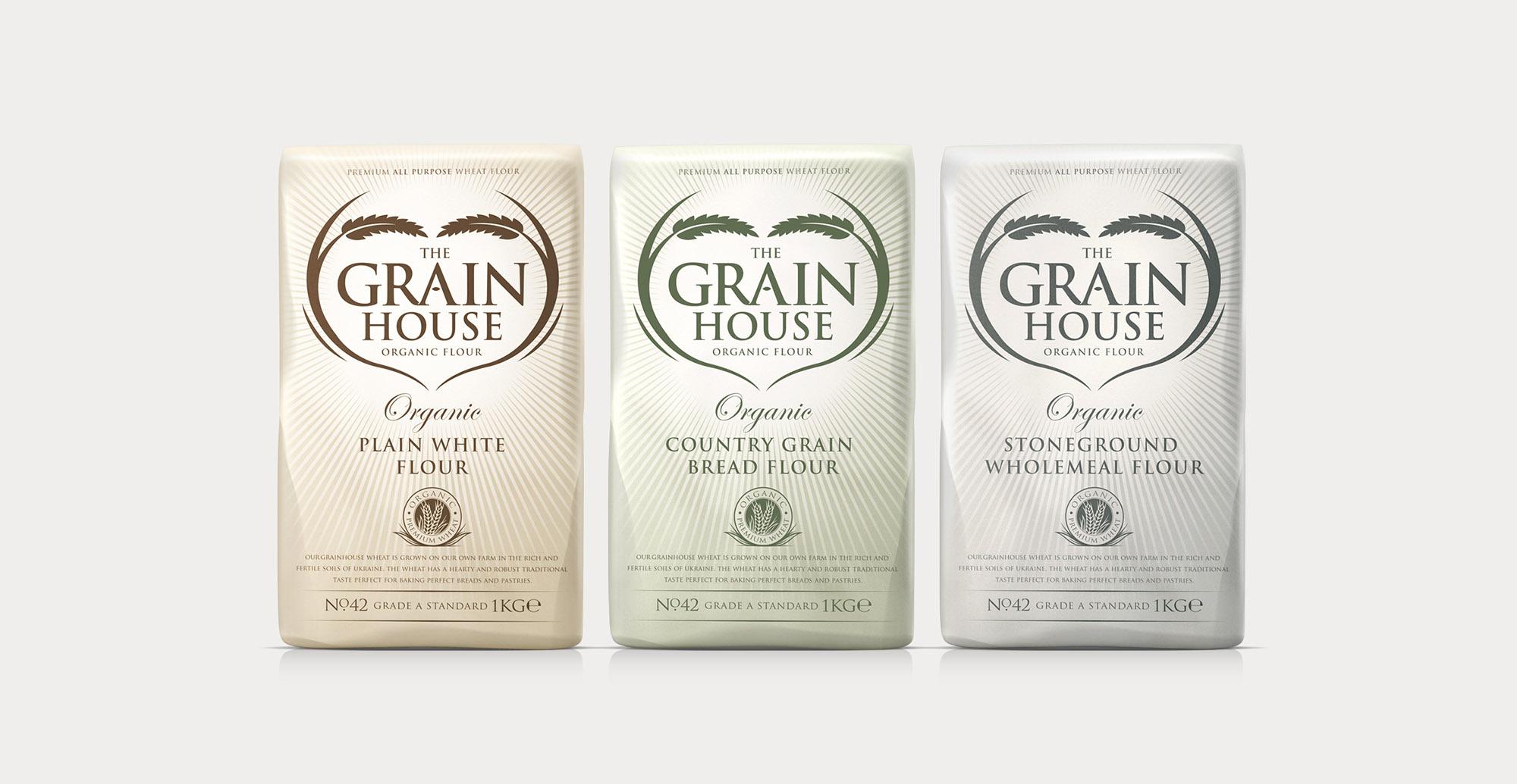 Premium Branding Design for Food Brand Grainhouse Flour - Full Range Shot