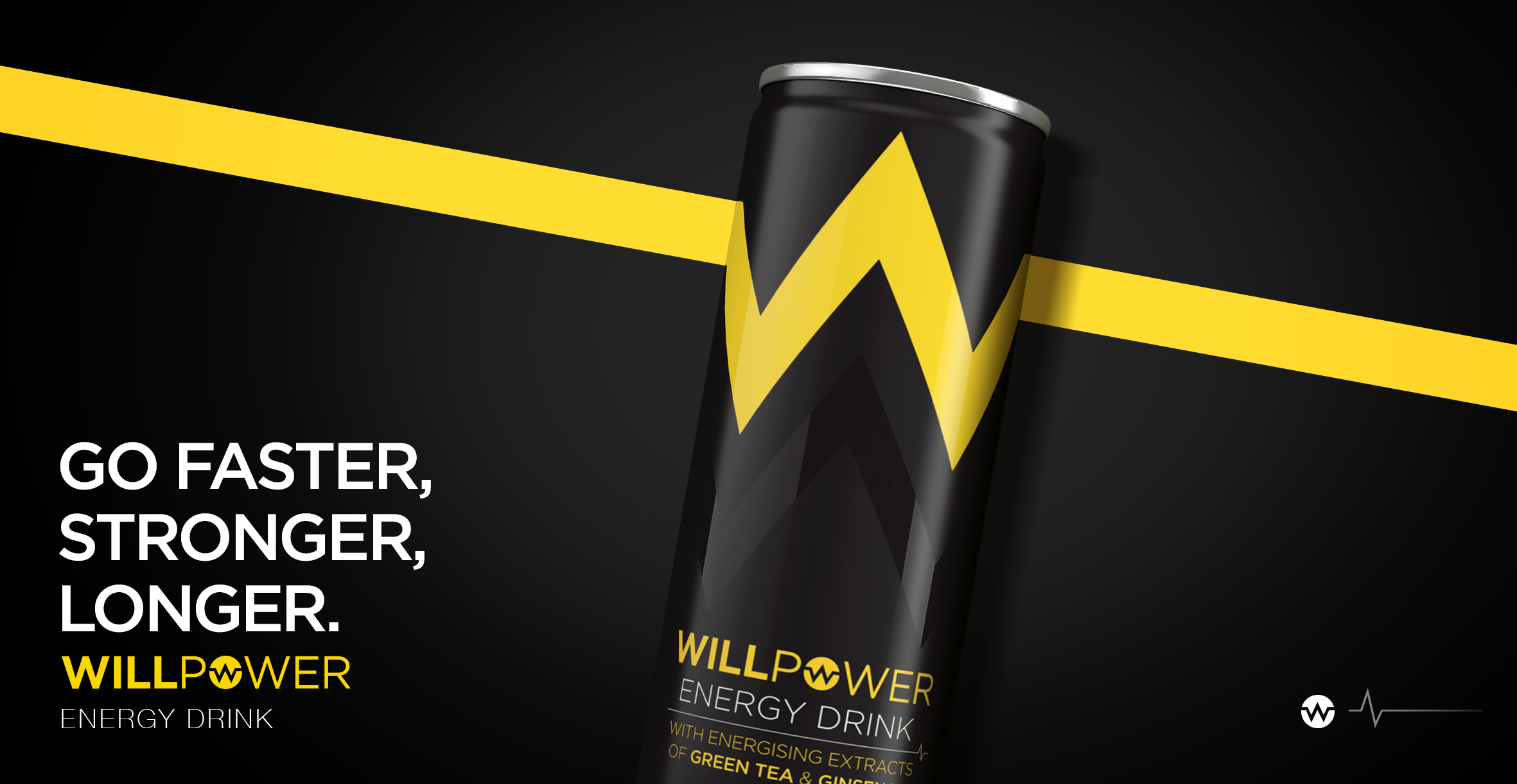 Branding and Packaging Design for Energy Drink Brand Willpower