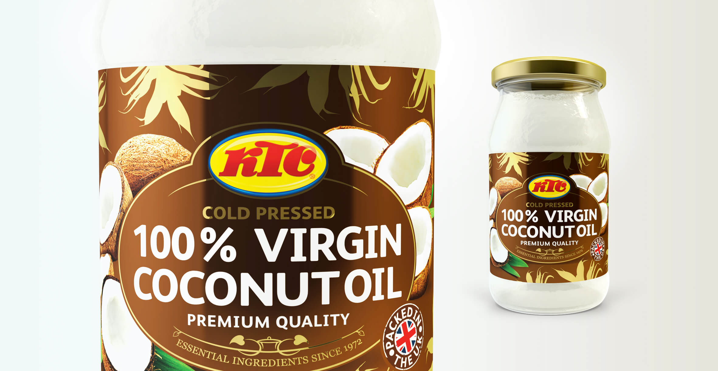 Packaging Design and Logo Refresh for Food Brand KTC Edibles - Coconut Oil Packaging Design