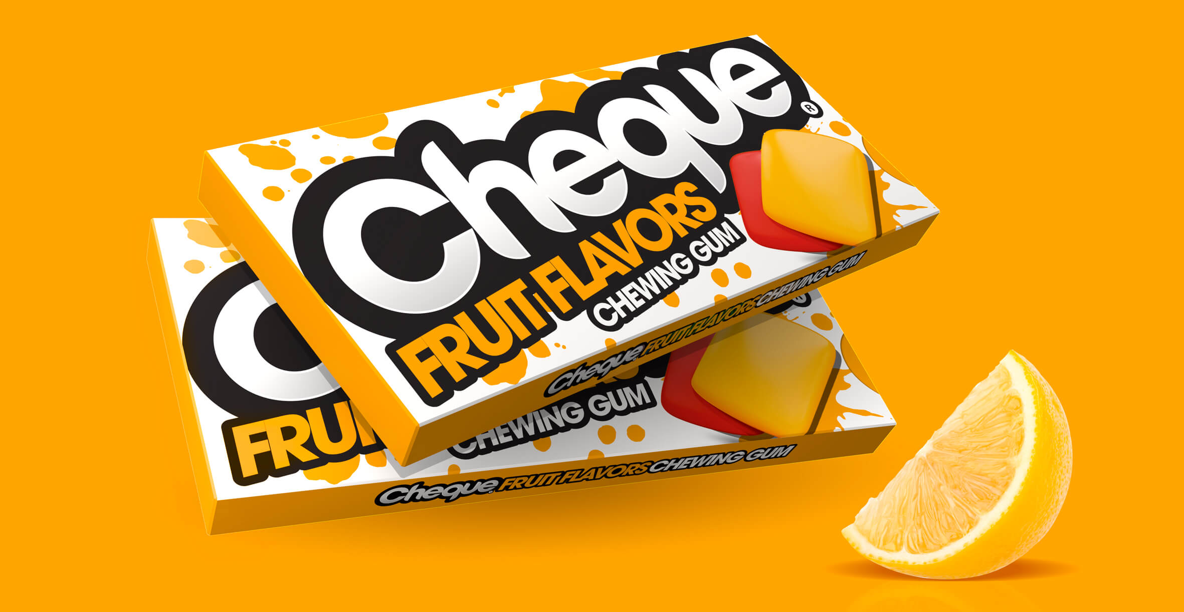 Branding and Packaging Design for Confectionary Brand Cheque Gum - Fruit Flavours Pack Carton Design