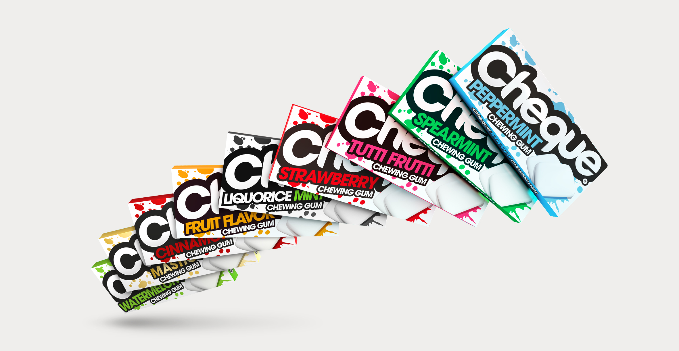 Branding and Packaging Design for Confectionary Brand Cheque Gum - Full Range Shot